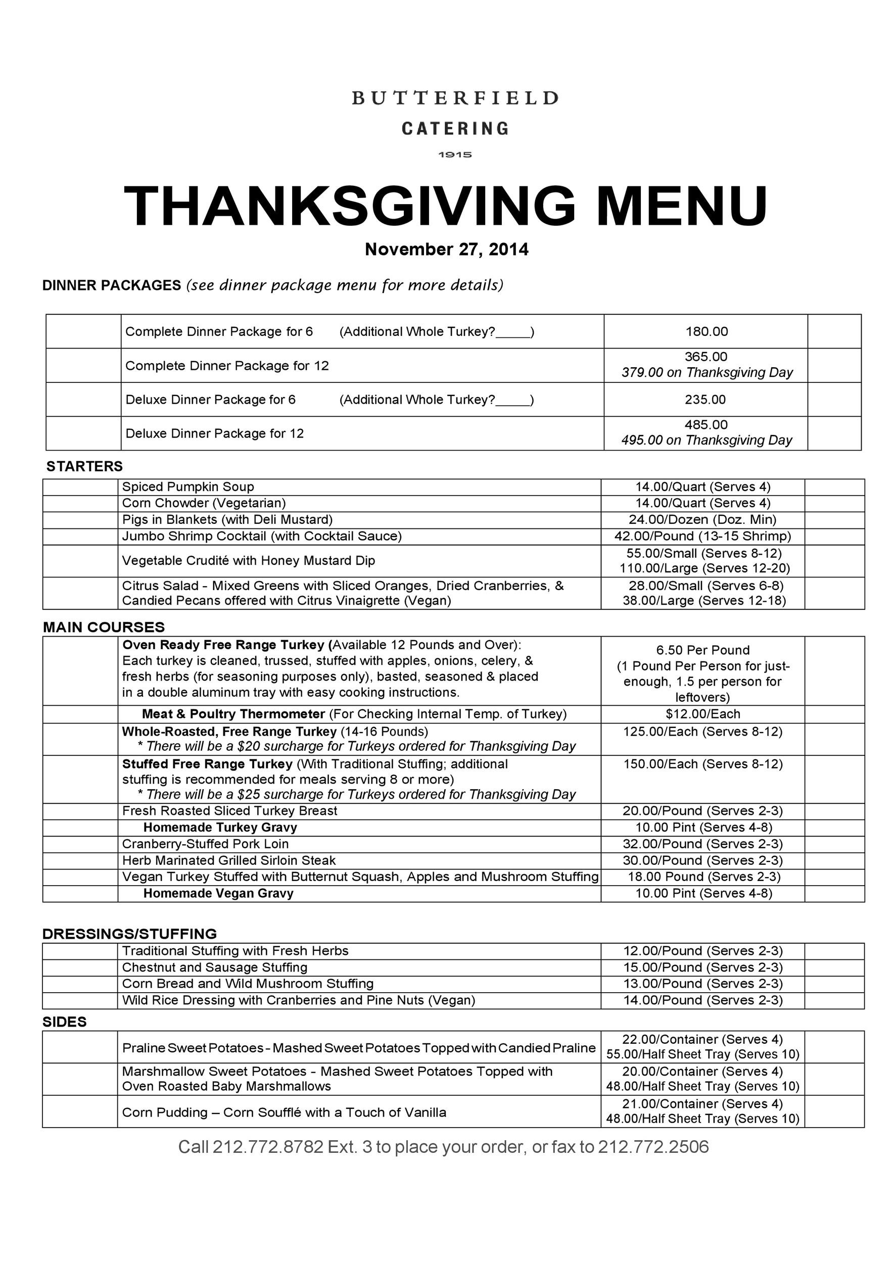Free thanksgiving menu template 23