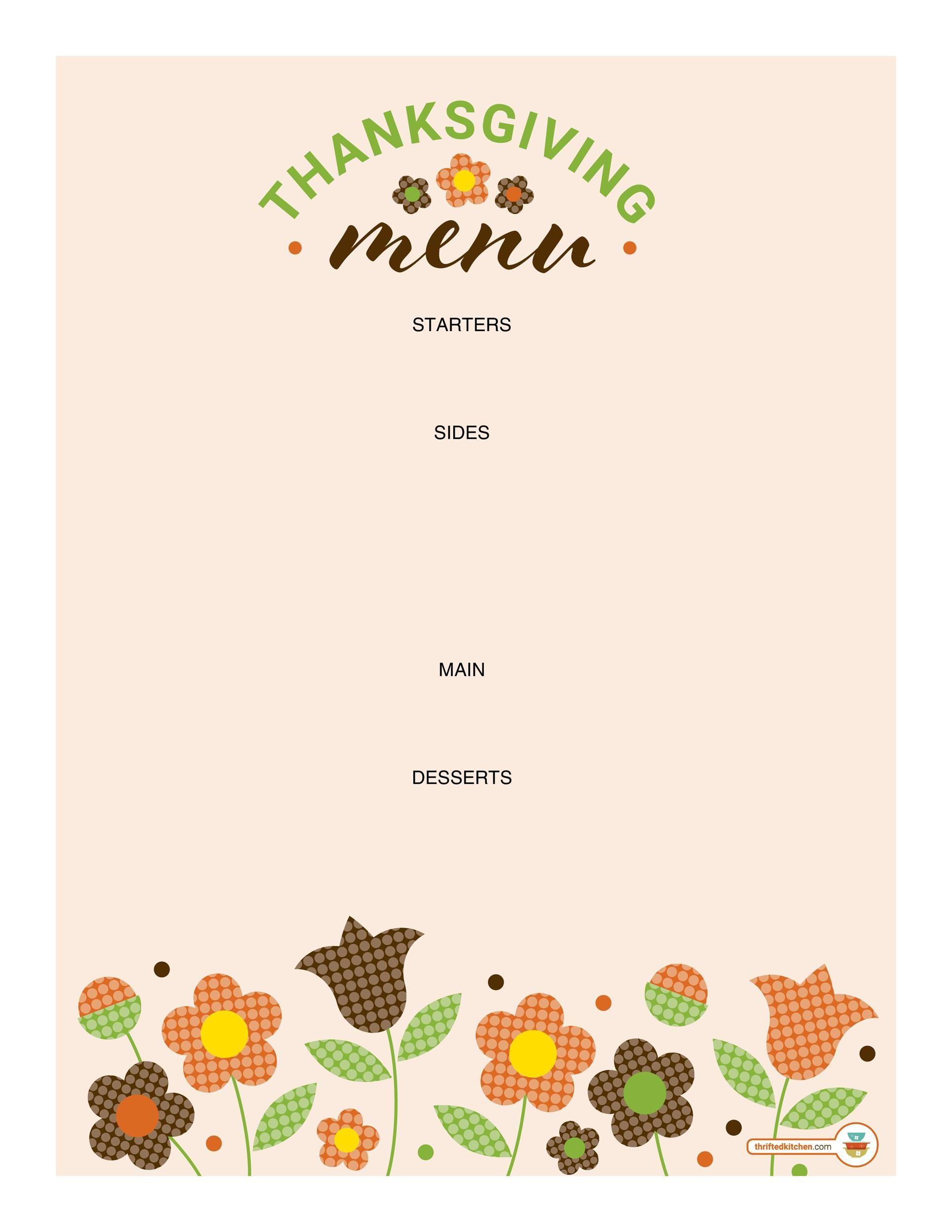 Free thanksgiving menu template 26