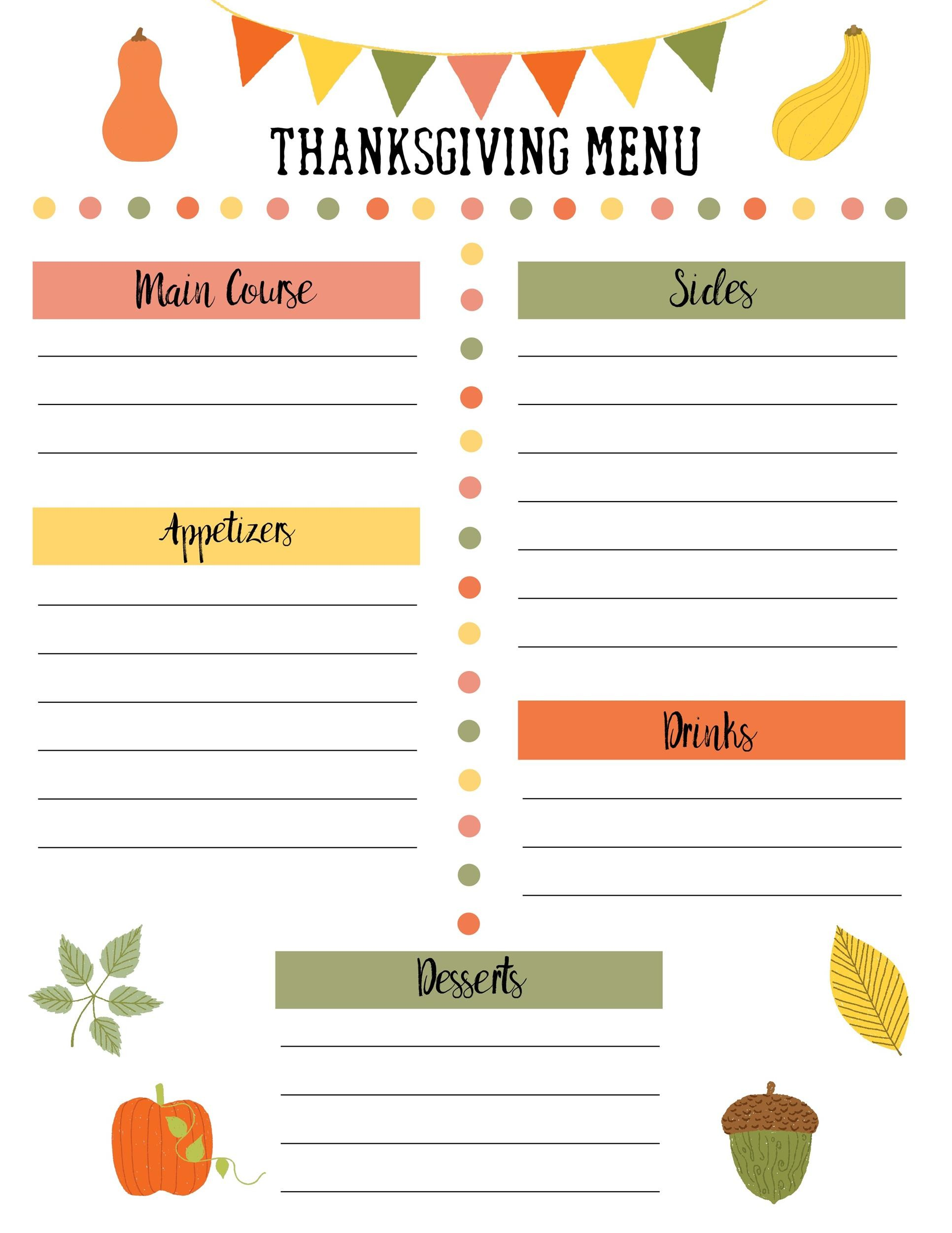 Free thanksgiving menu template 27