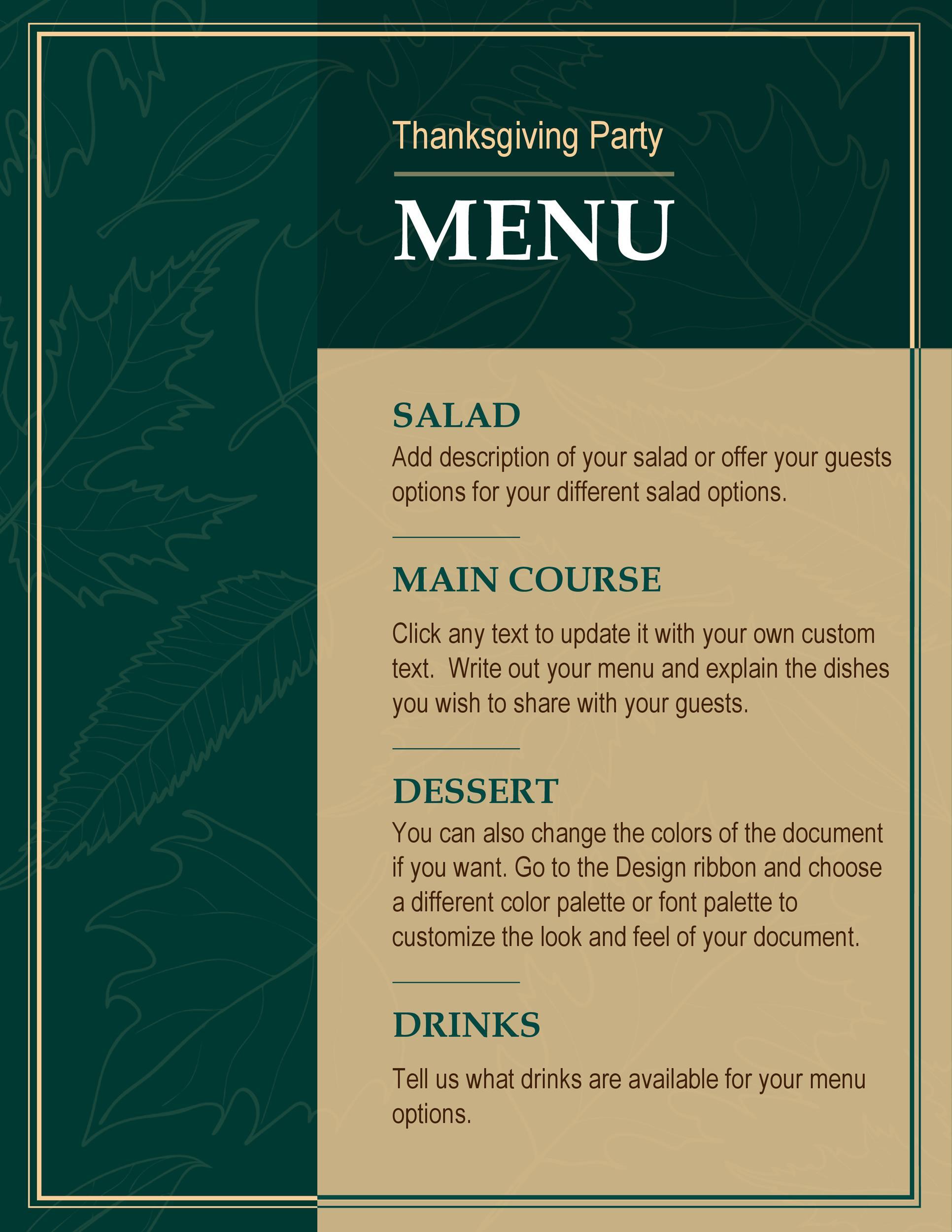 Free thanksgiving menu template 28