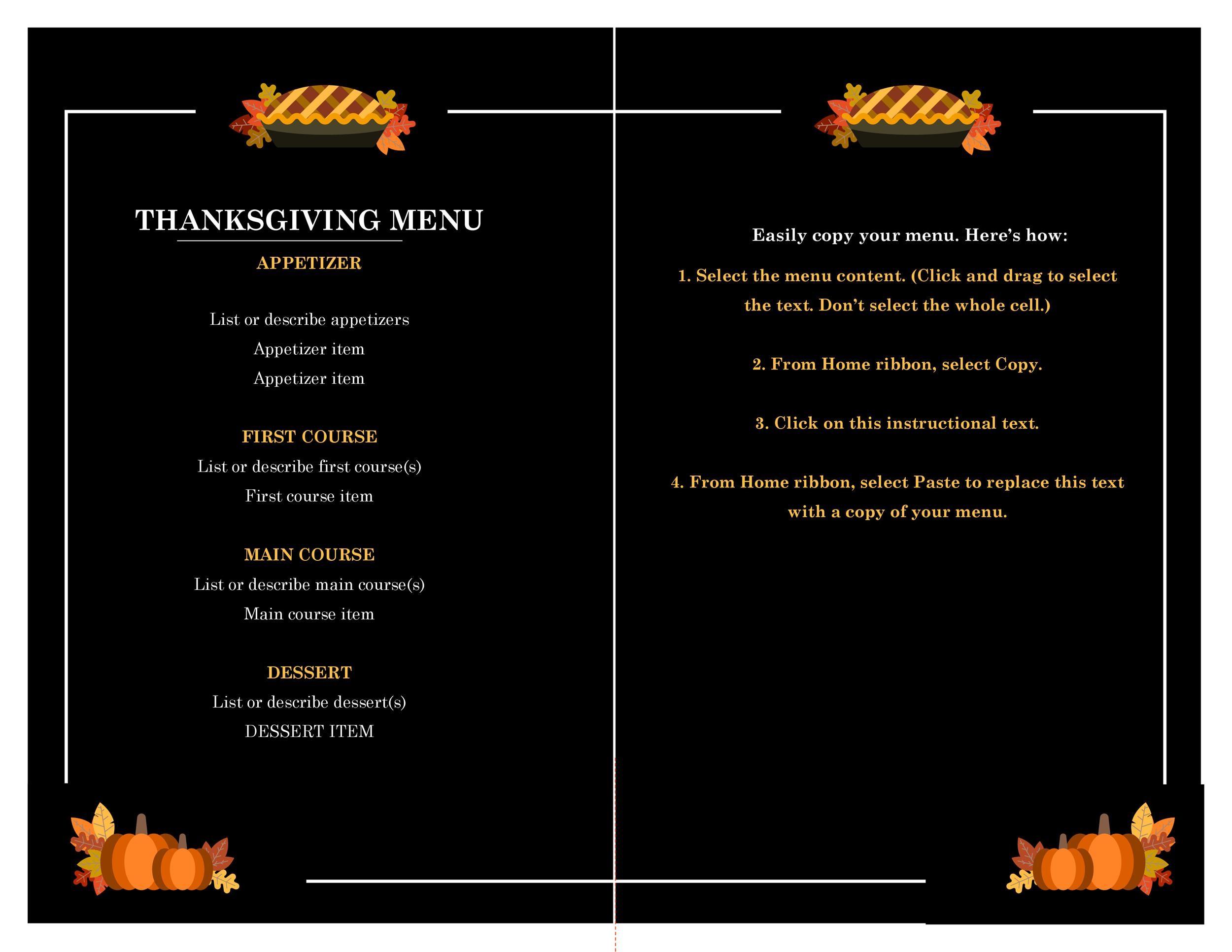 Free thanksgiving menu template 29