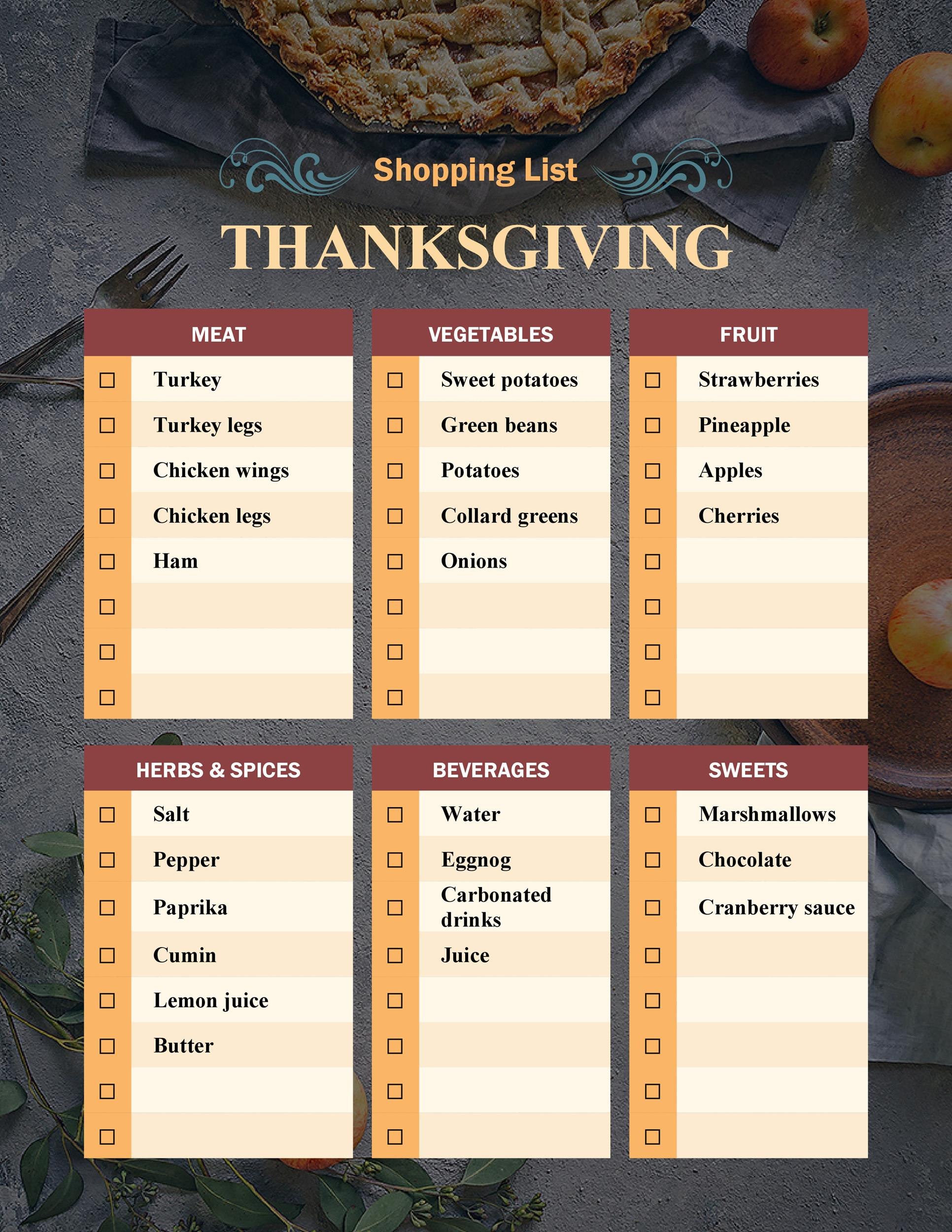 Free thanksgiving menu template 31
