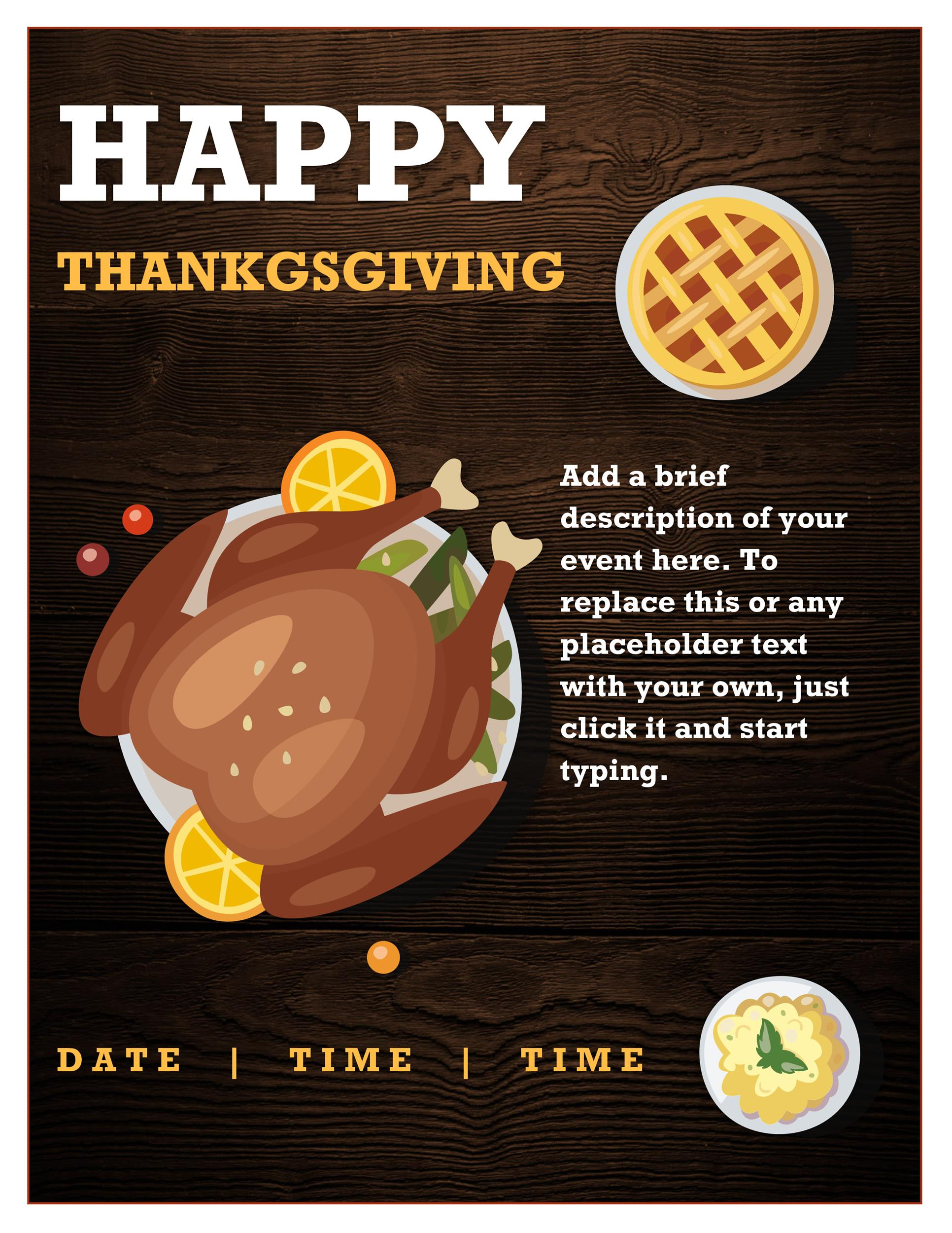 Free thanksgiving menu template 34