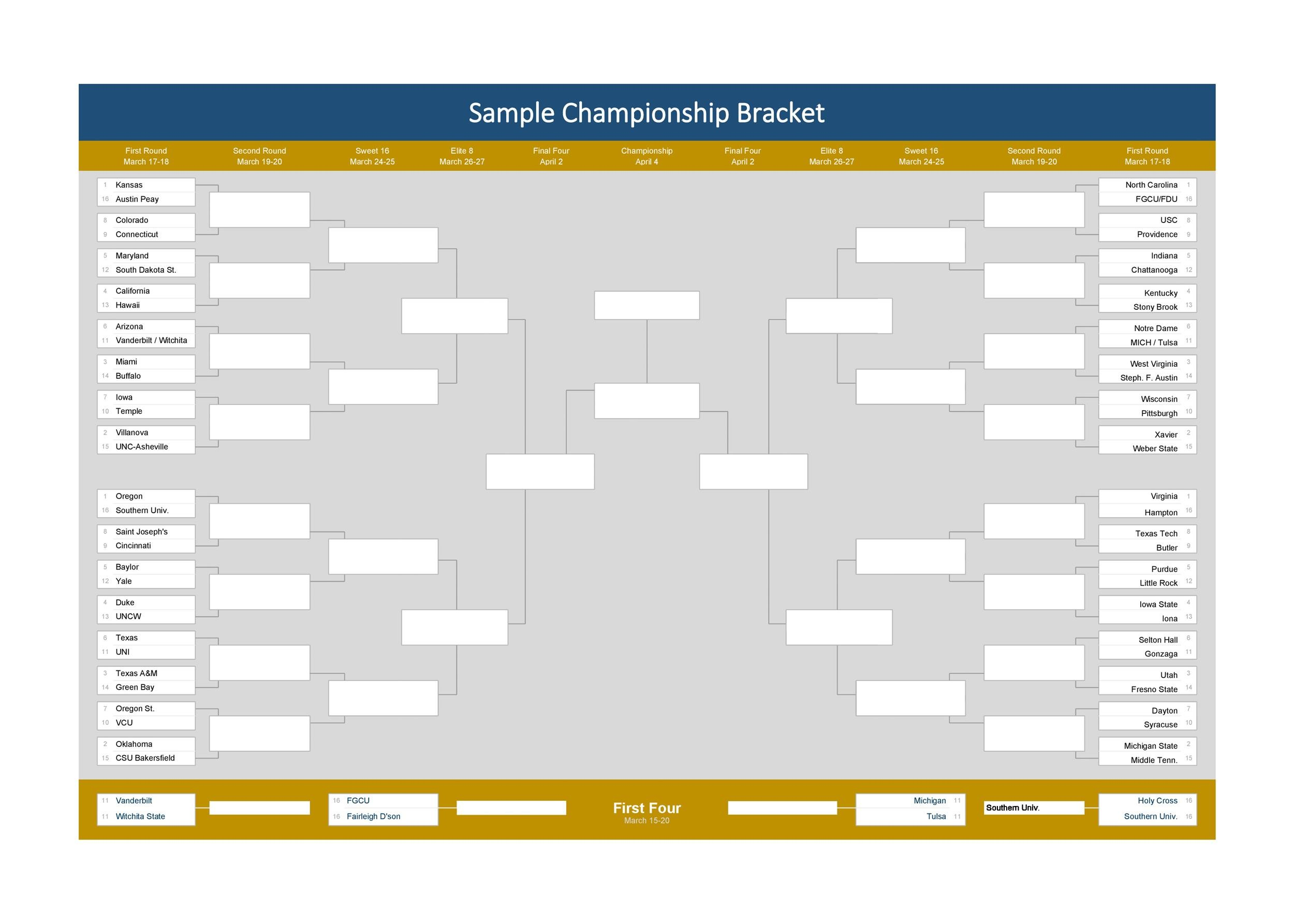 Free tournament bracket template 07