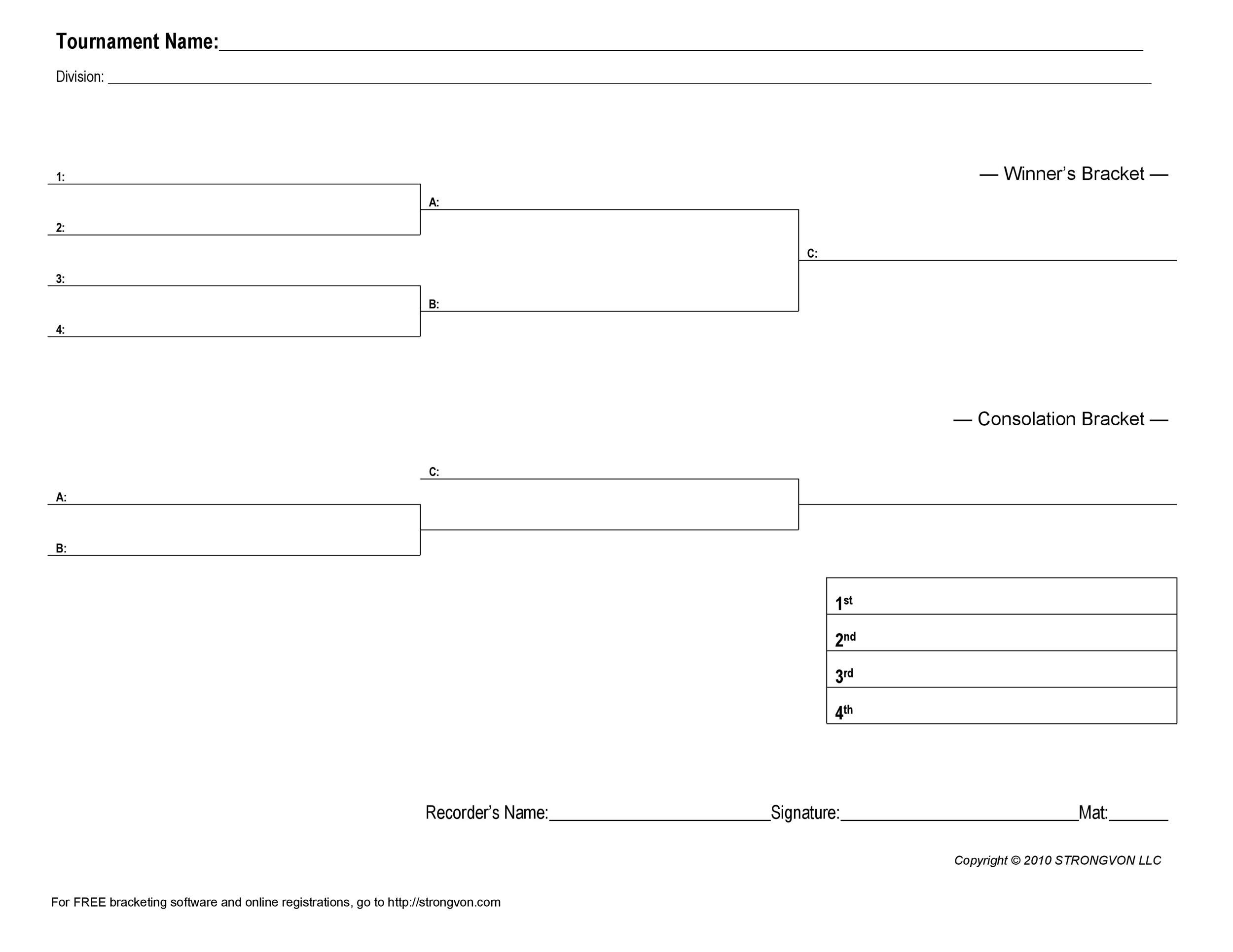 Free tournament bracket template 16