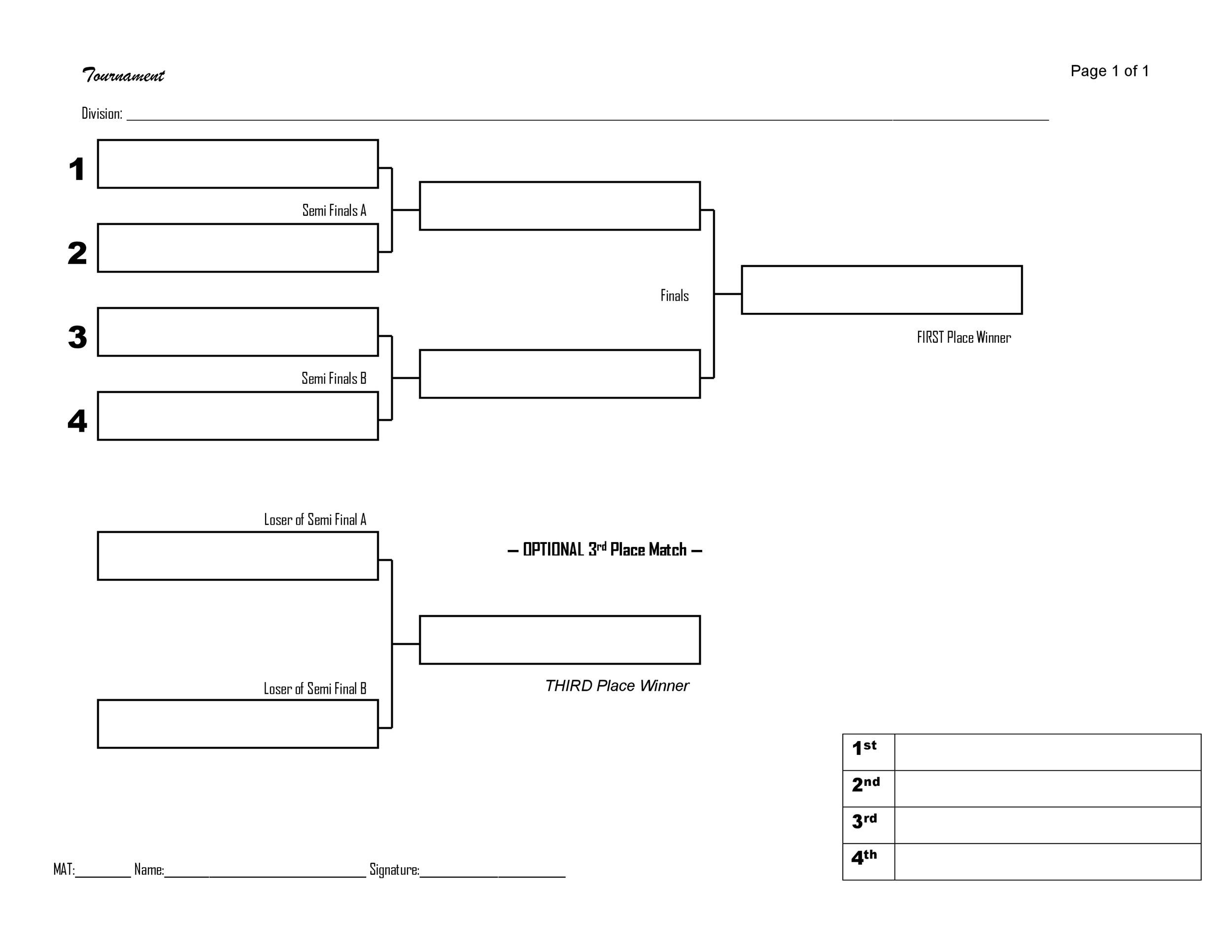 34 blank tournament bracket templates   u0026100  free   u1405 template lab