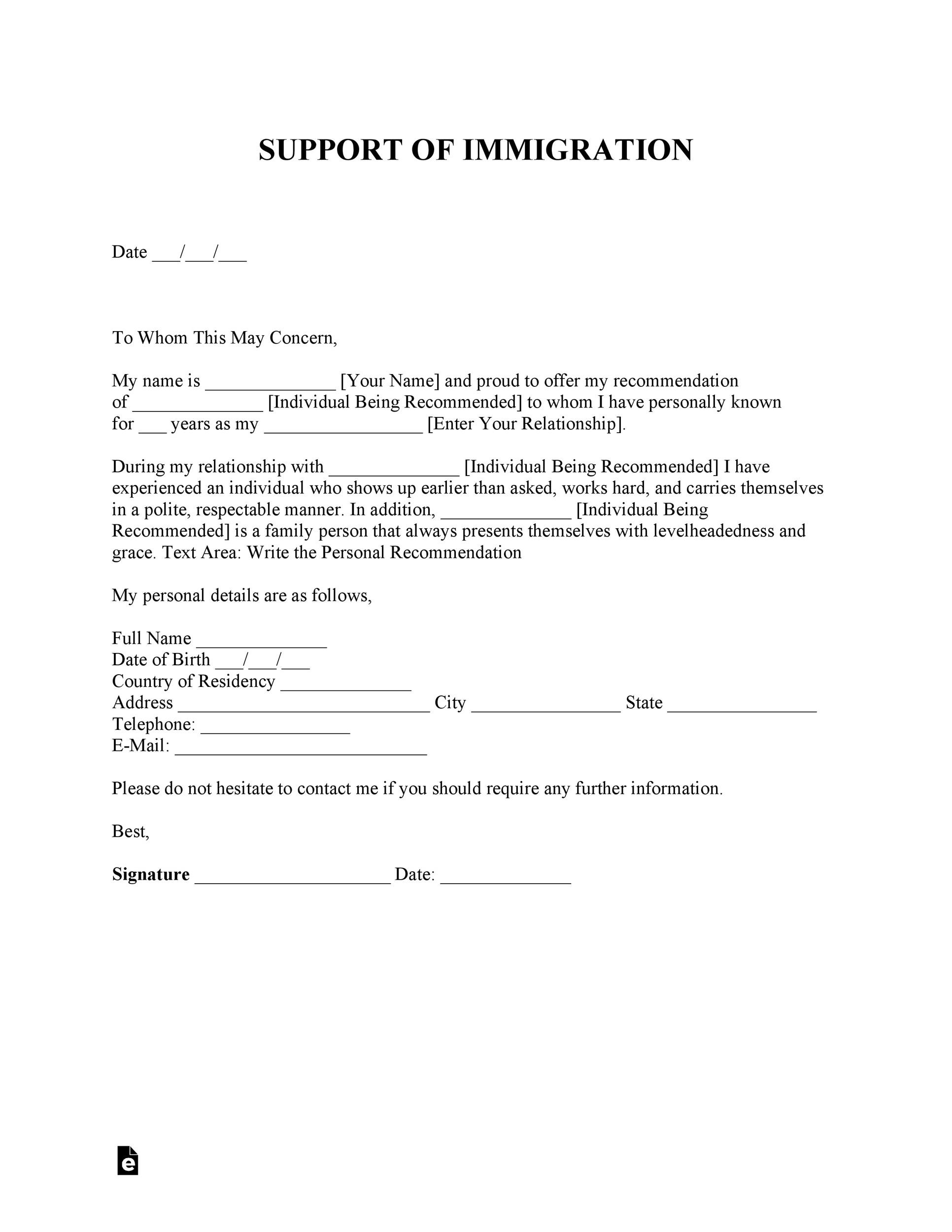 Sample Immigration Reference Letter For A Friend