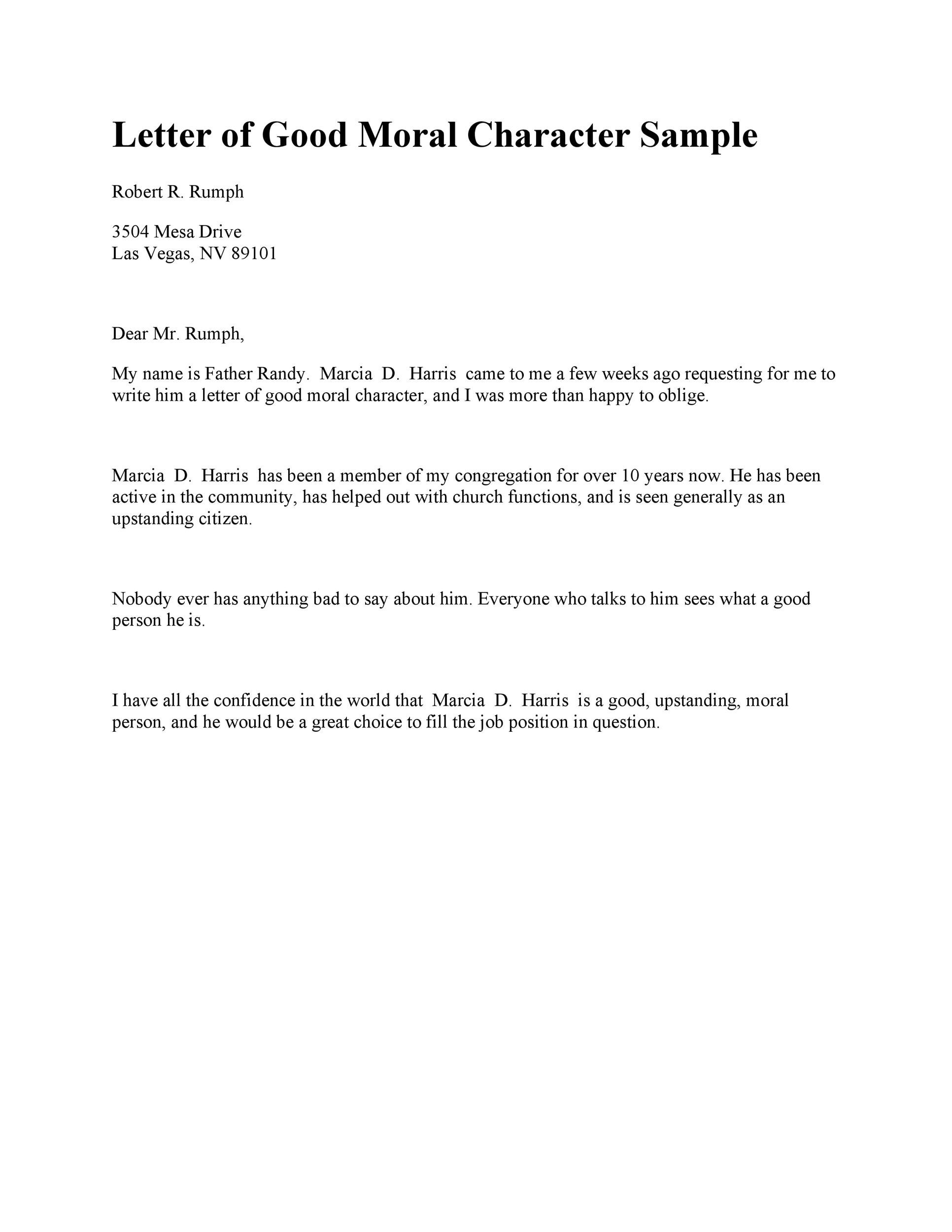 Immigration Character Reference Letter For Family Member from templatelab.com