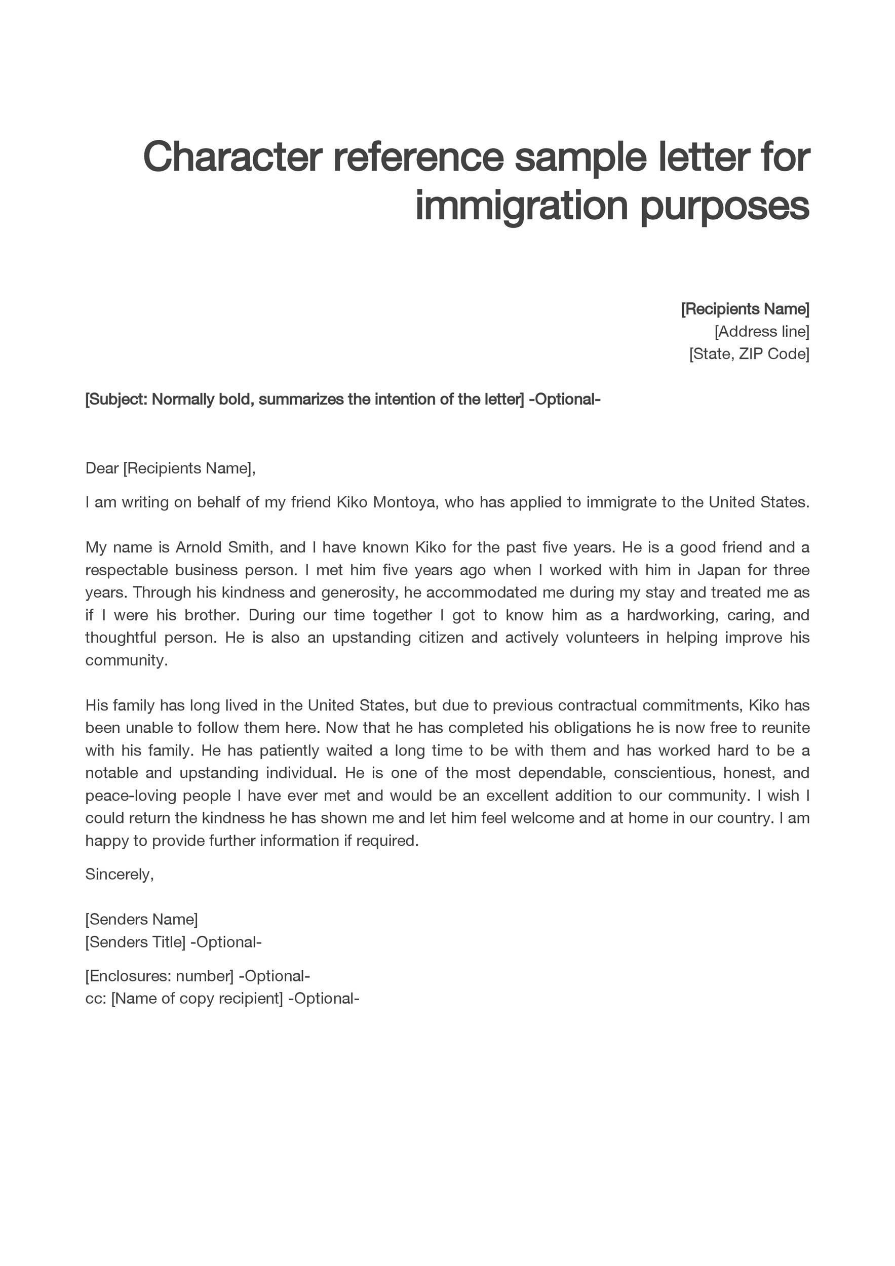 Letter Of Good Conduct For Immigration from templatelab.com