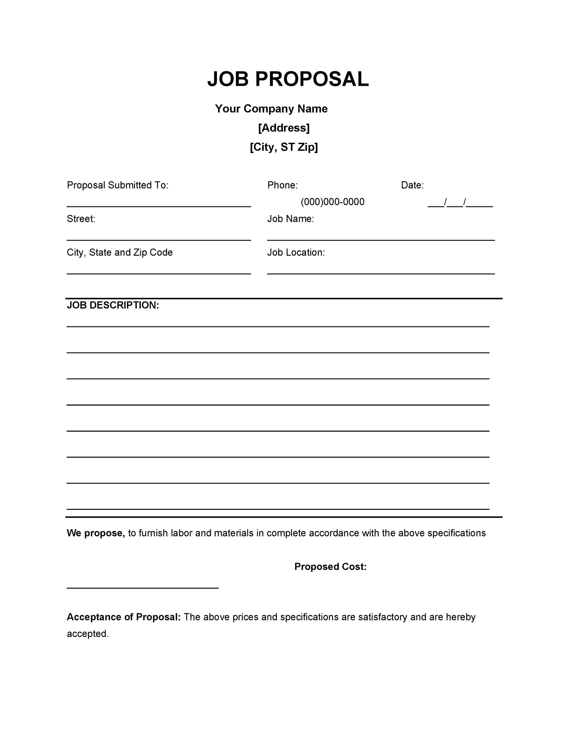 Free Job Proposal Template 02