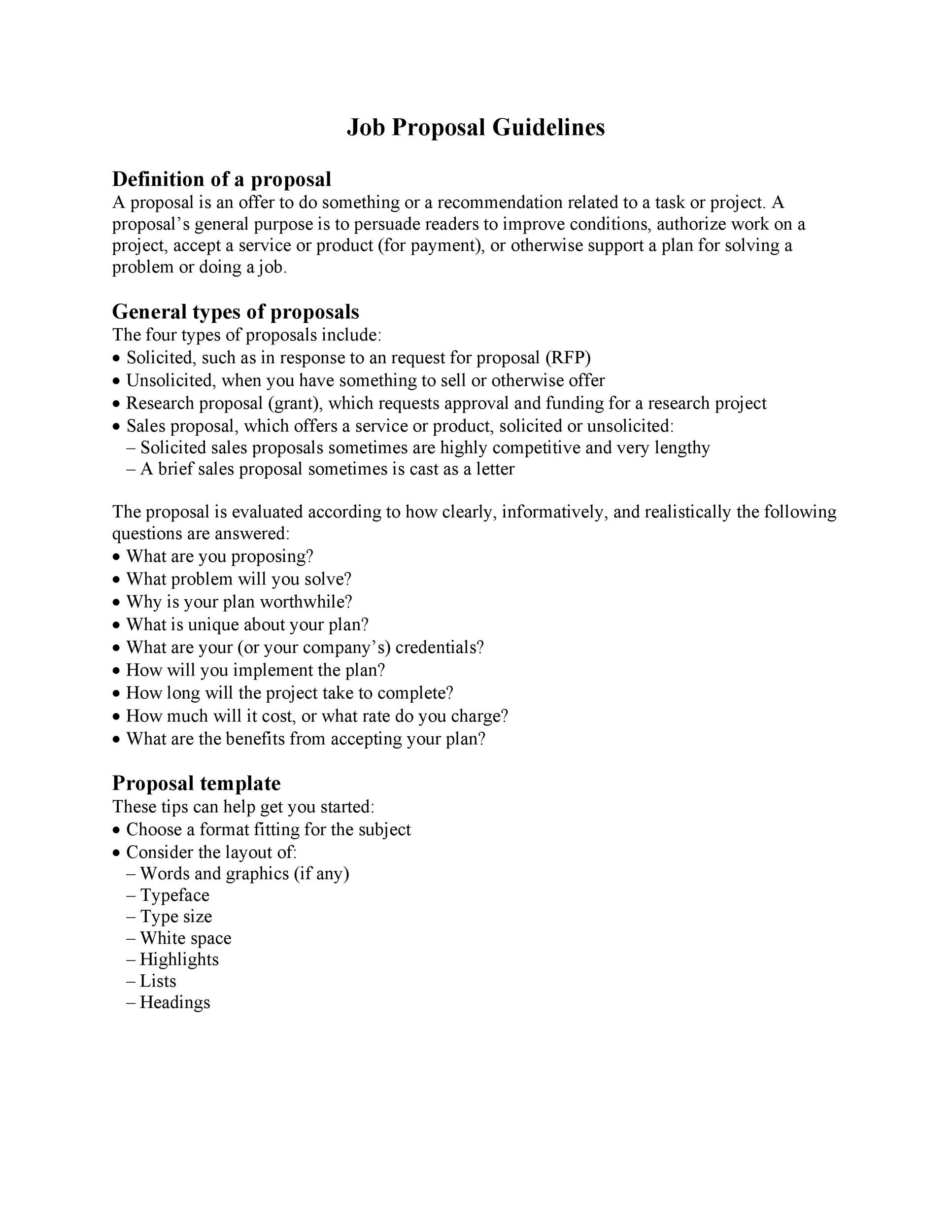 Free Job Proposal Template 29