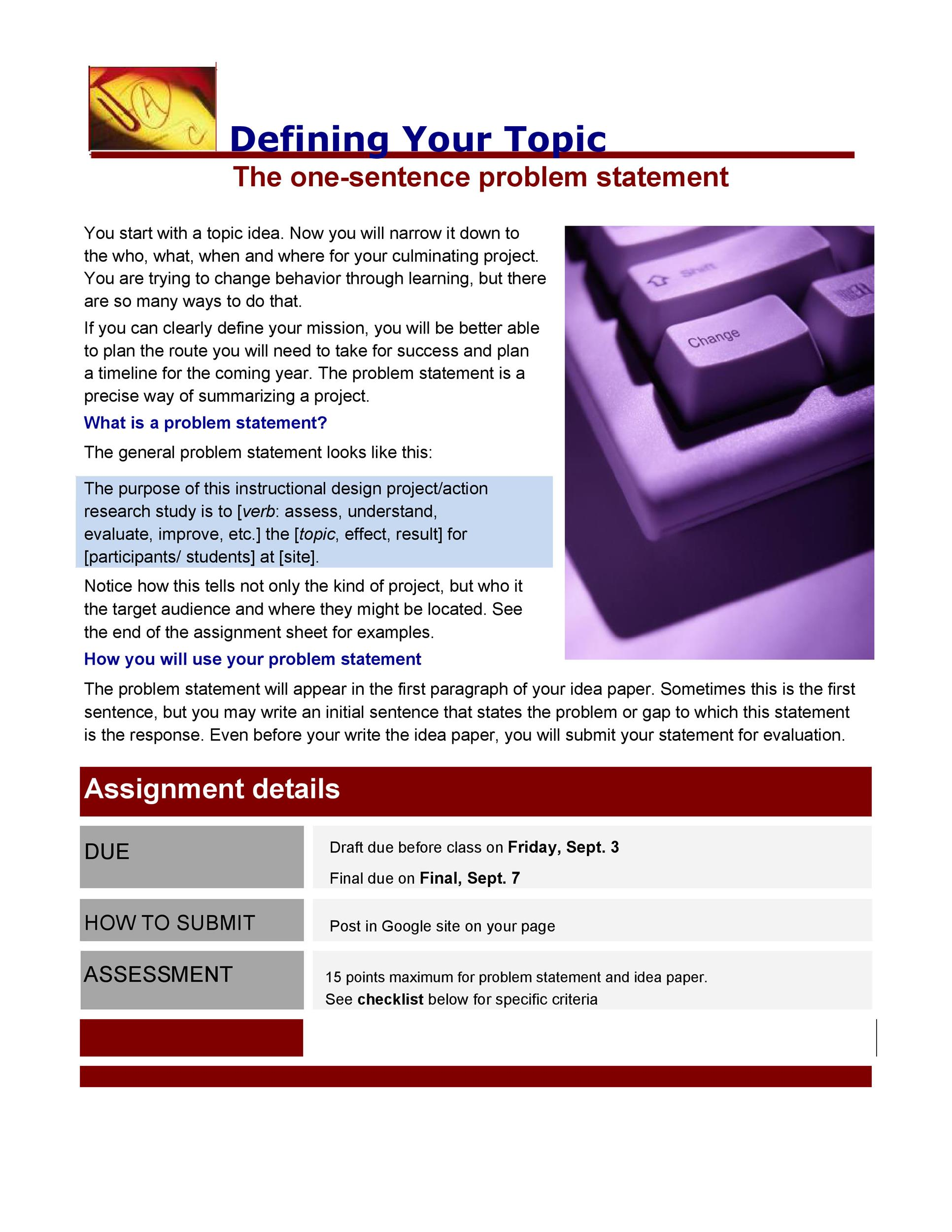 Free Problem Statement Template 01