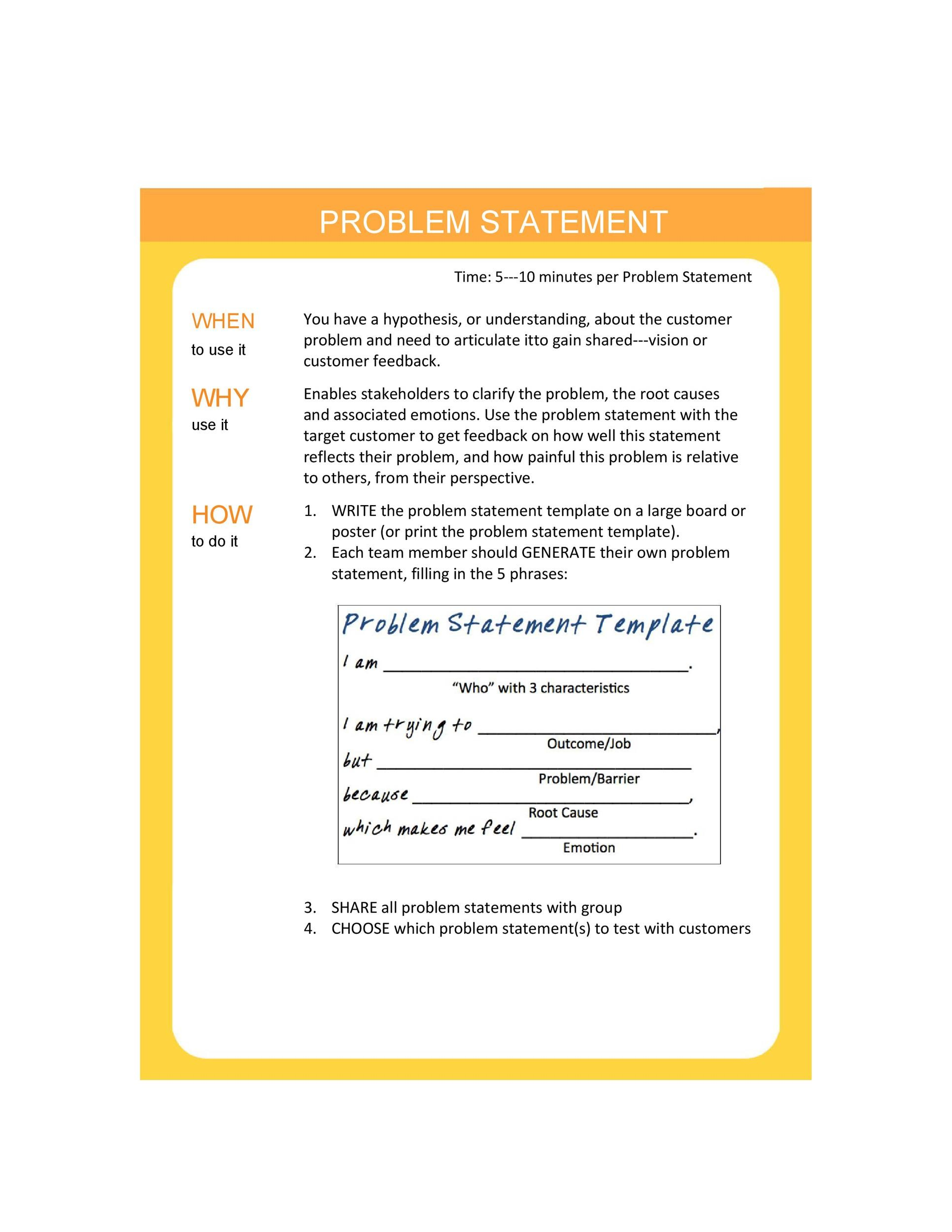 50 Printable Problem Statement Templates Ms Word ᐅ