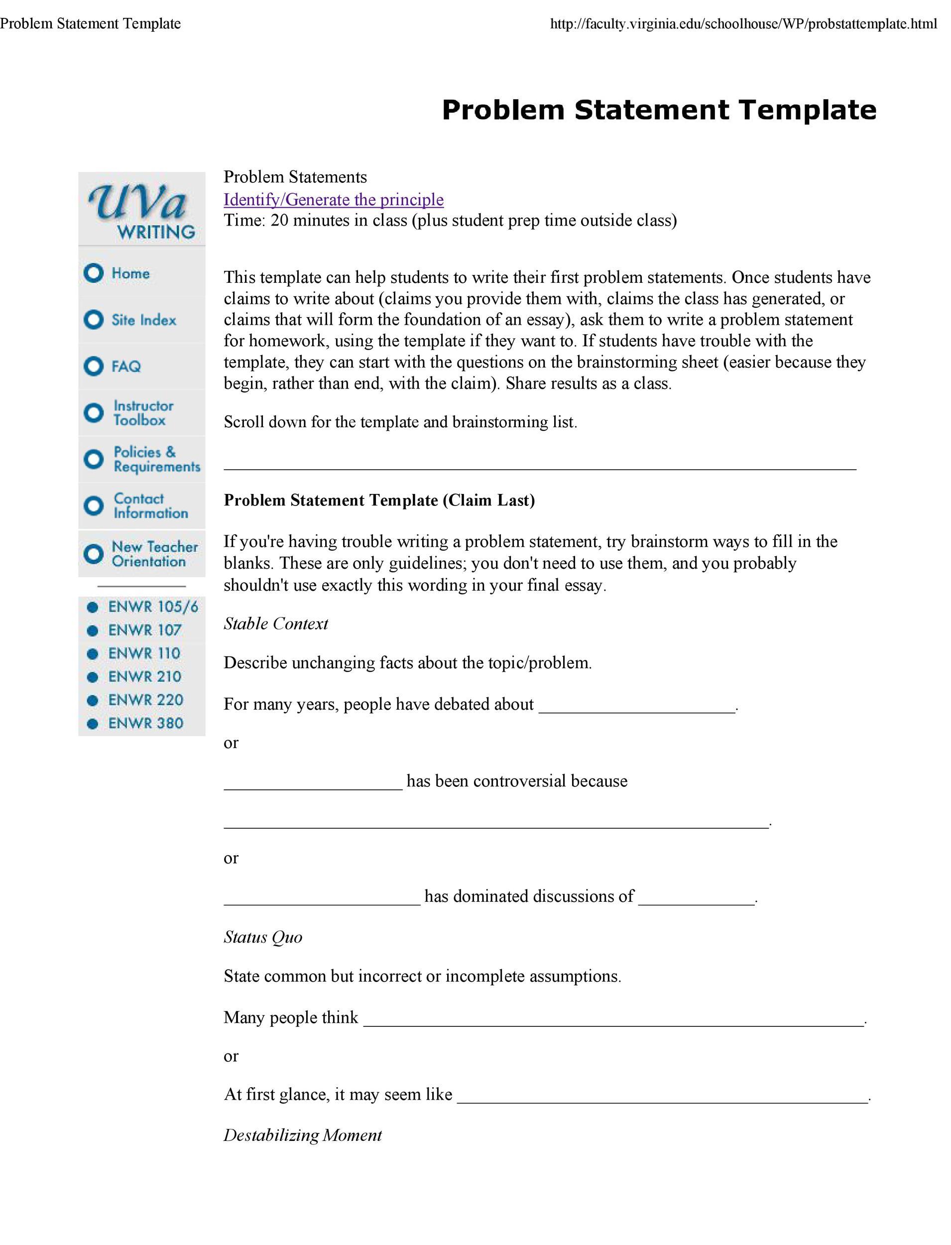 Free Problem Statement Template 03