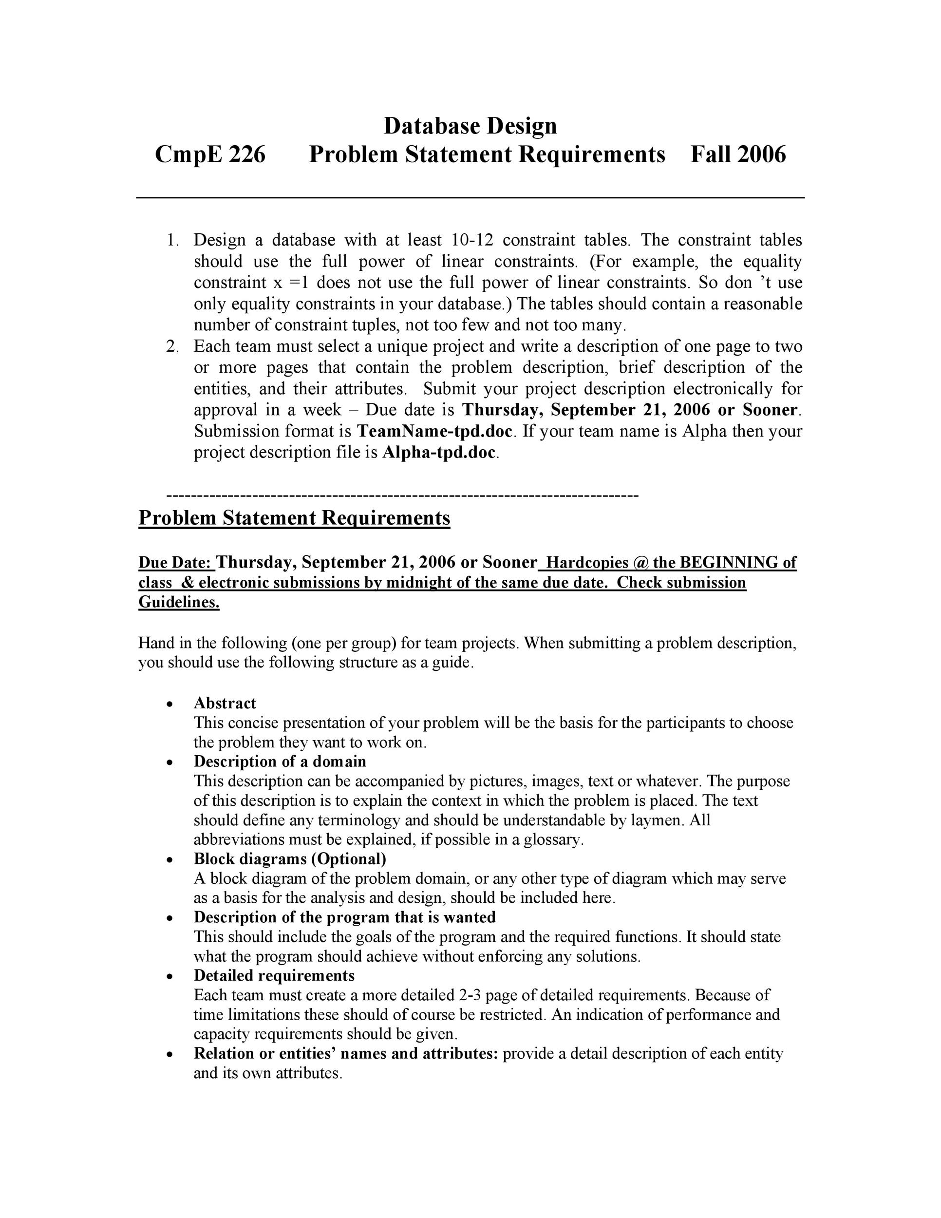 Free Problem Statement Template 11