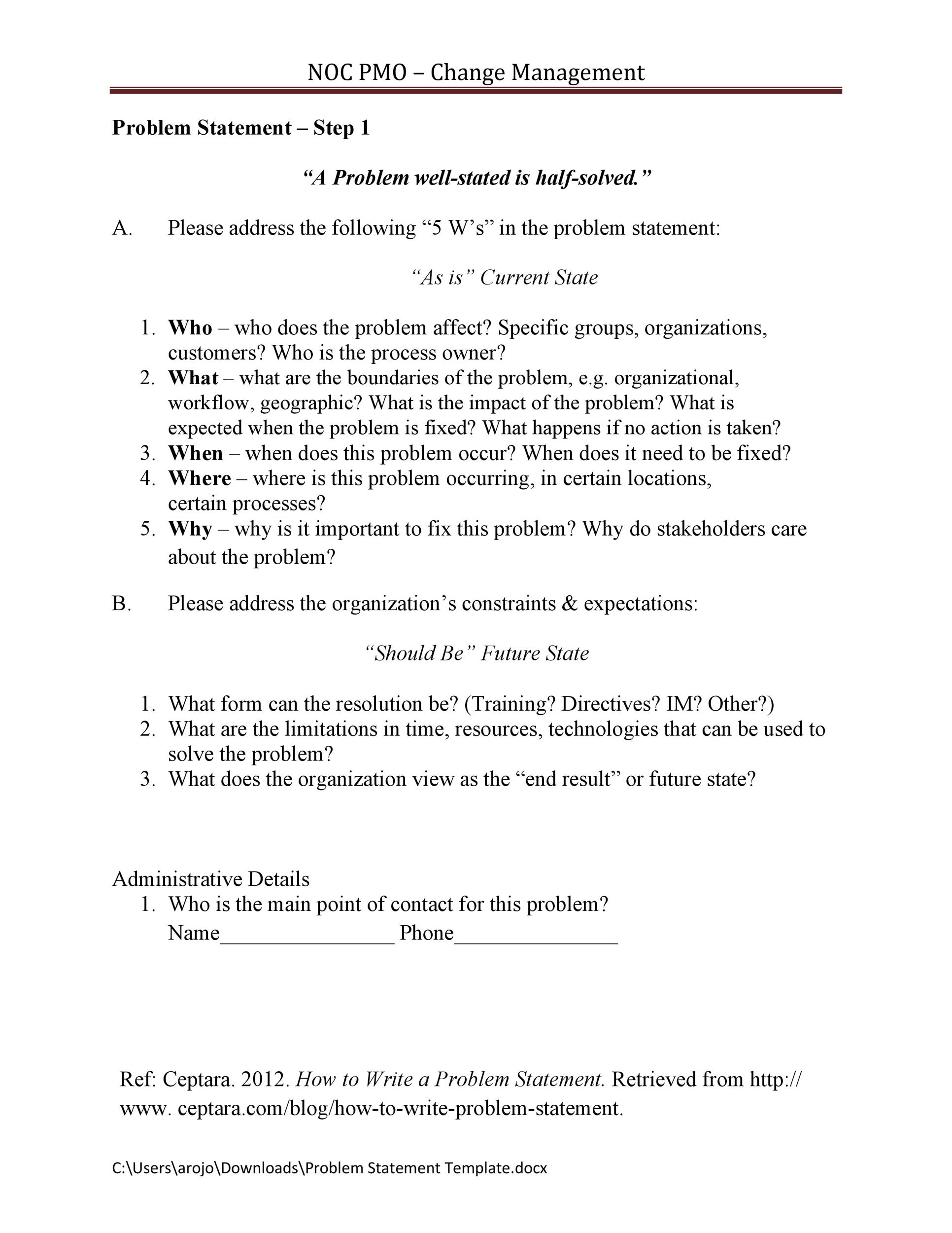 Free Problem Statement Template 12