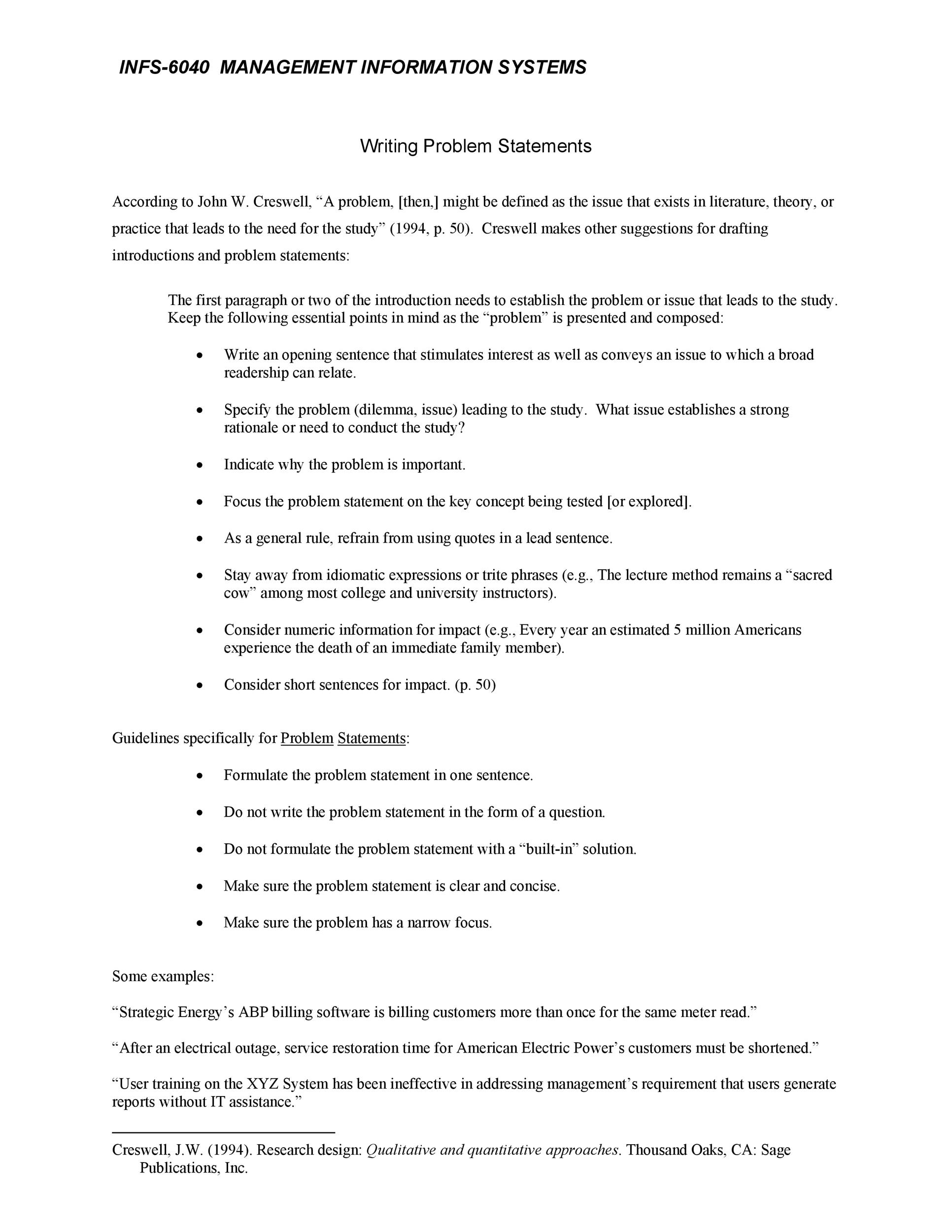 Free Problem Statement Template 14