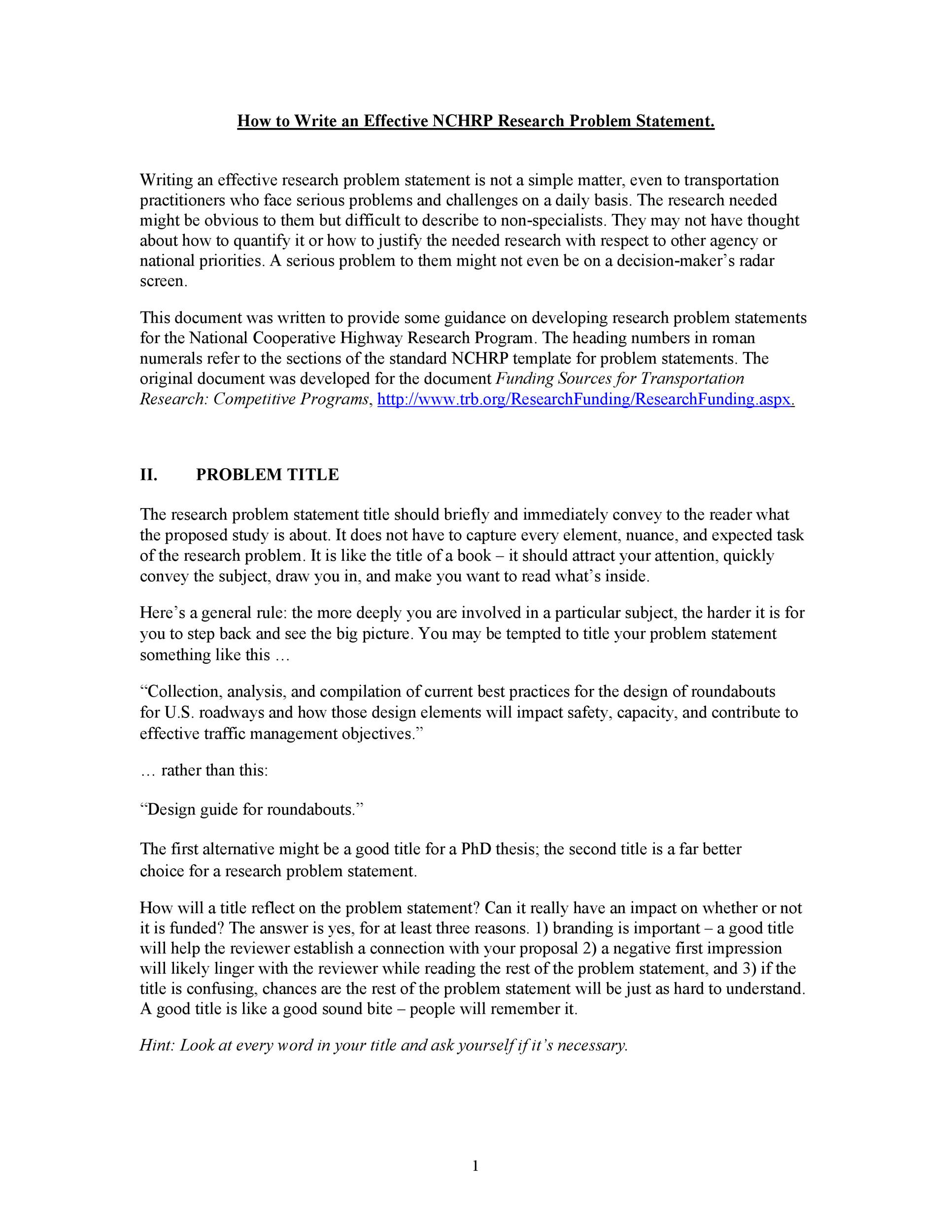 Free Problem Statement Template 27