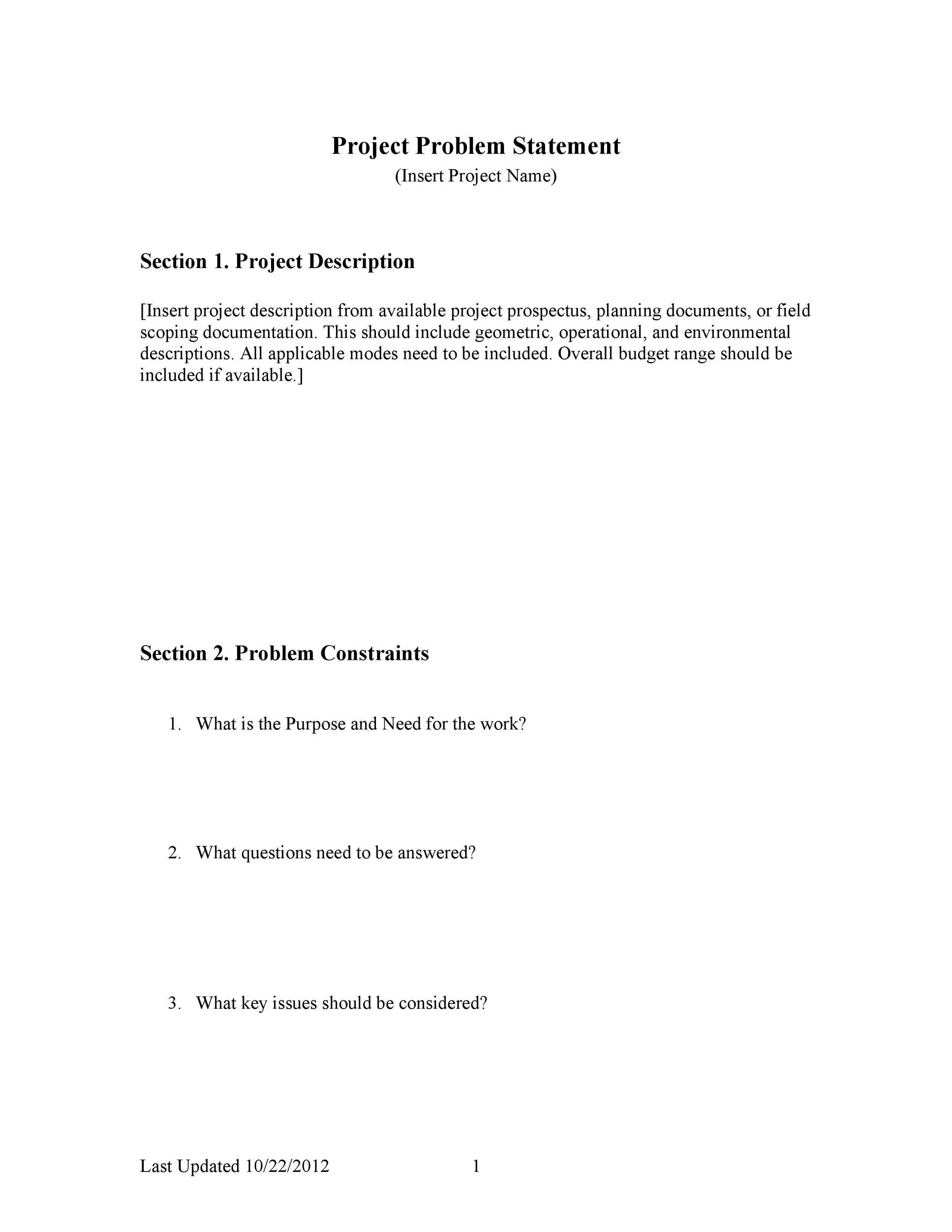 Free Problem Statement Template 41
