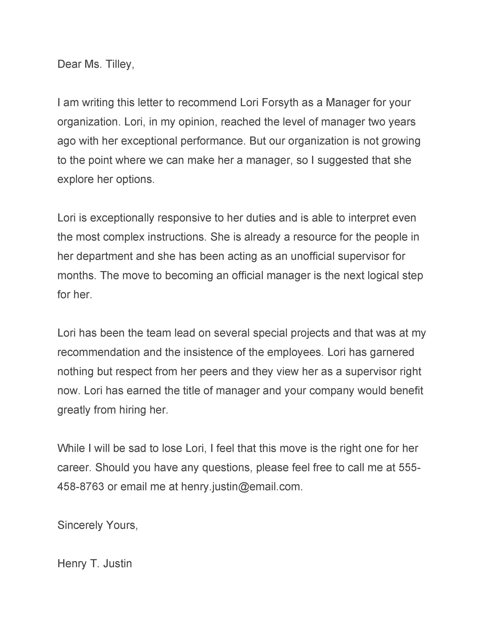 Free Recommendation Letter From Manager Template 01