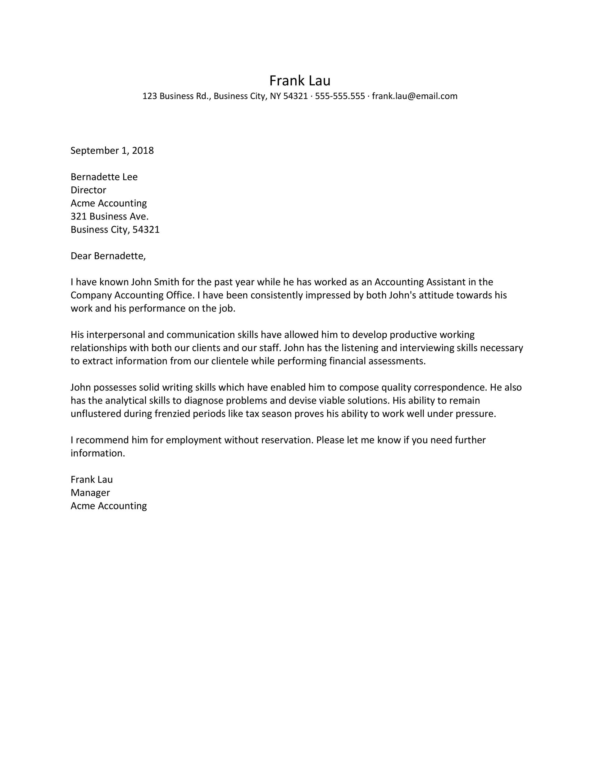 Sample Letter Of Recommendation Employee from templatelab.com