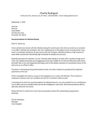 Recommendation Letters For Employee From Manager