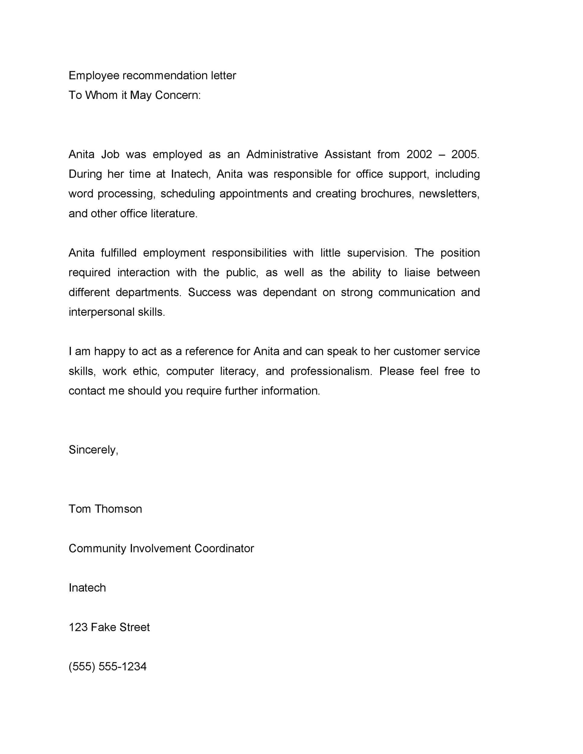 Letter Of Recommendation Sample For Former Employee from templatelab.com
