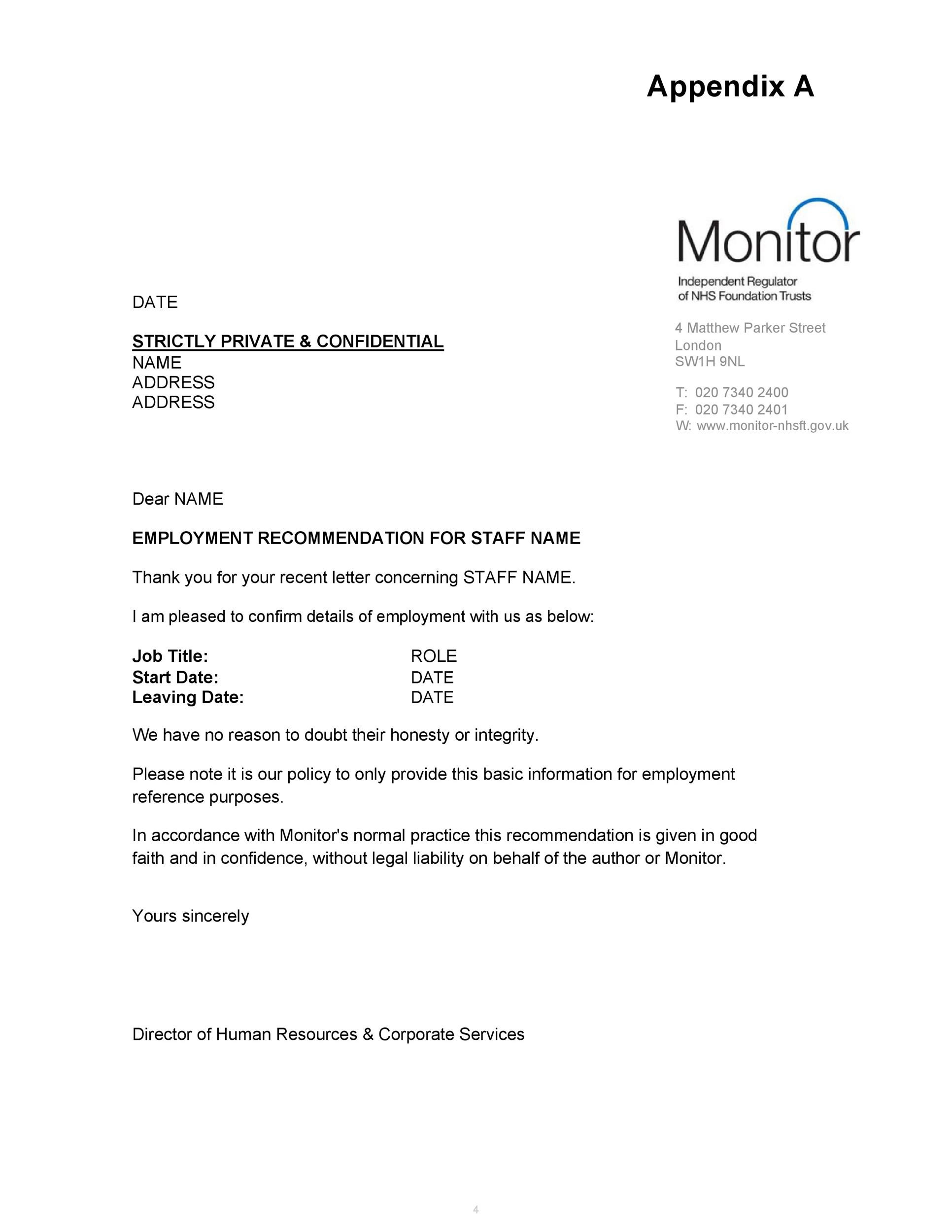 Free Recommendation Letter From Manager Template 05