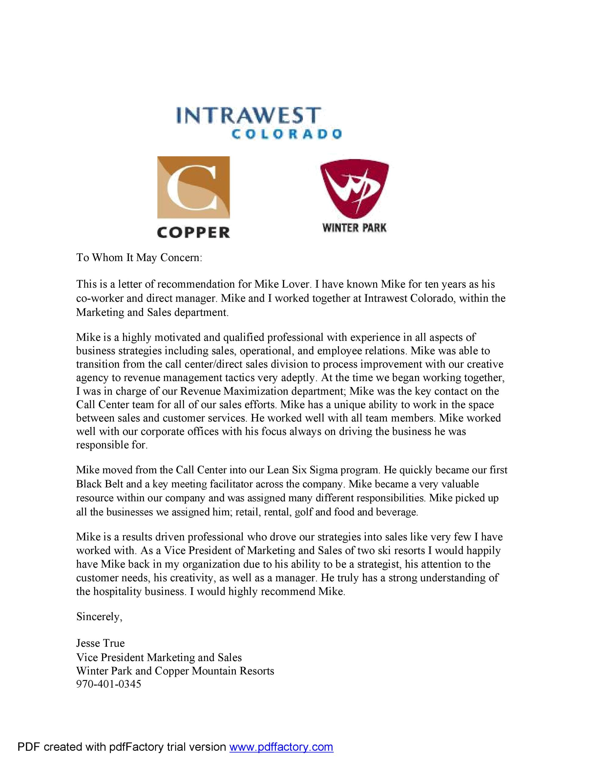 Free Recommendation Letter From Manager Template 08