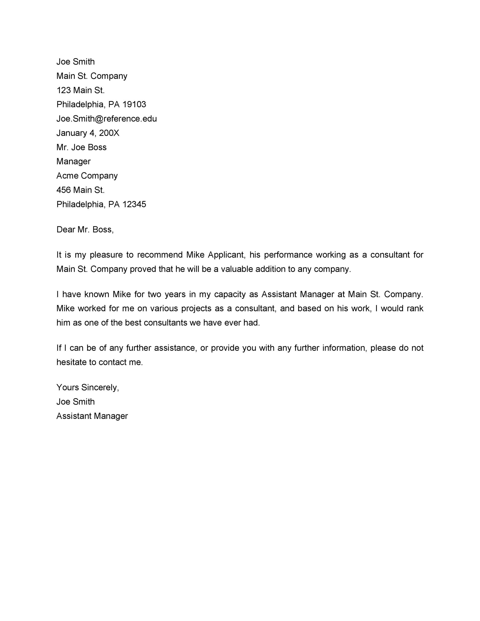 Free Recommendation Letter From Manager Template 11