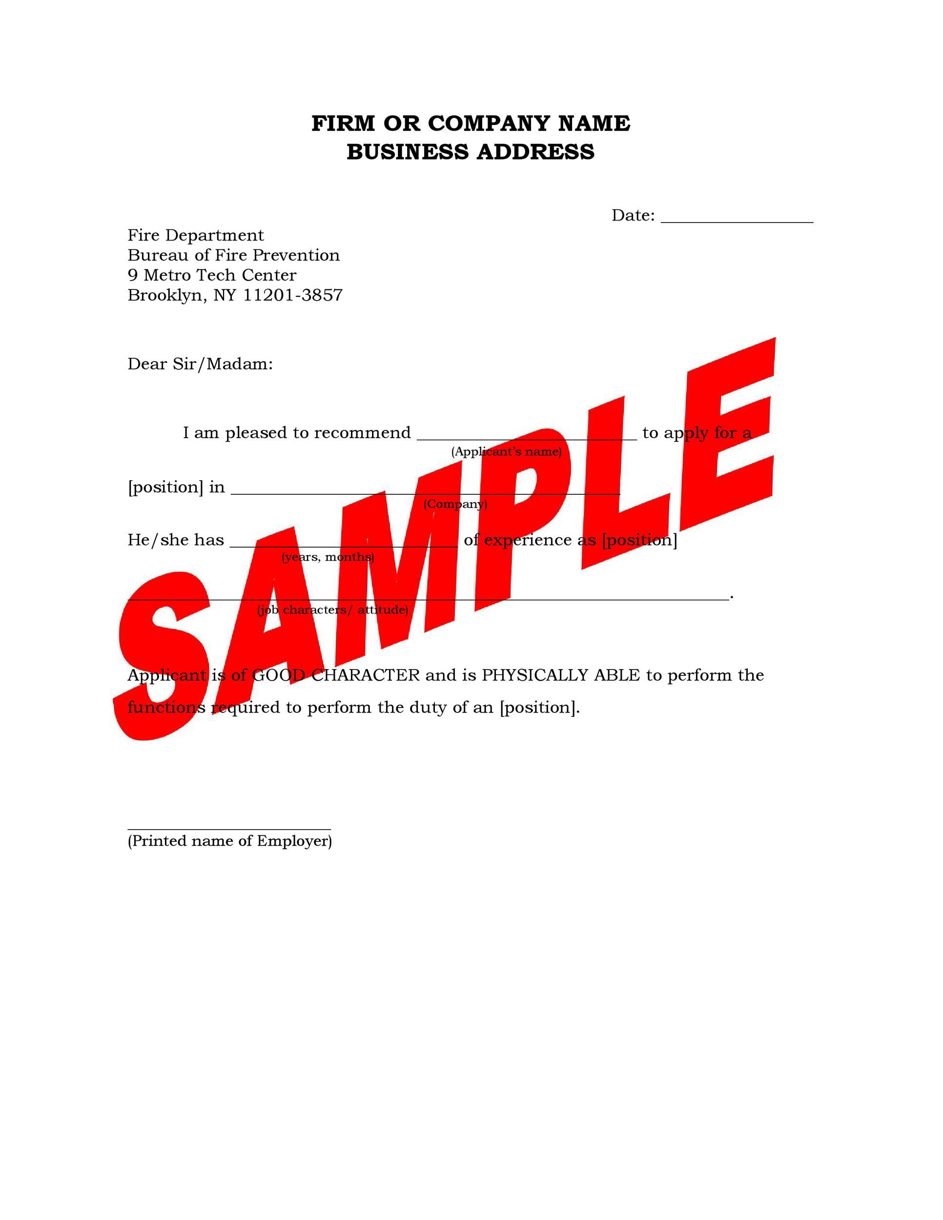 Free Recommendation Letter From Manager Template 12