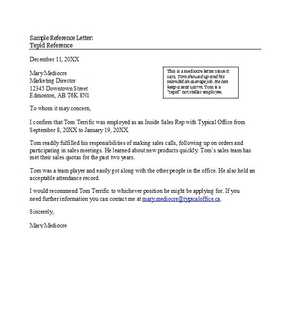Free Recommendation Letter From Manager Template 16