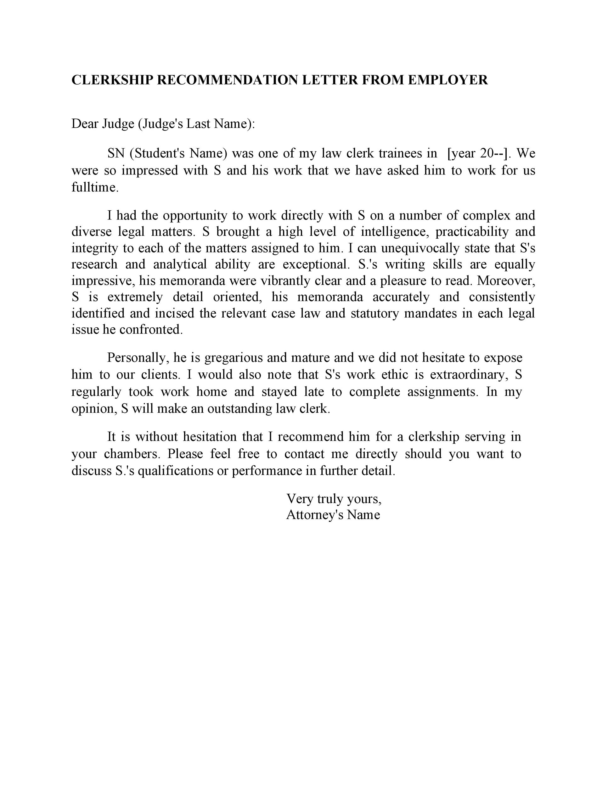 Free Recommendation Letter From Manager Template 19