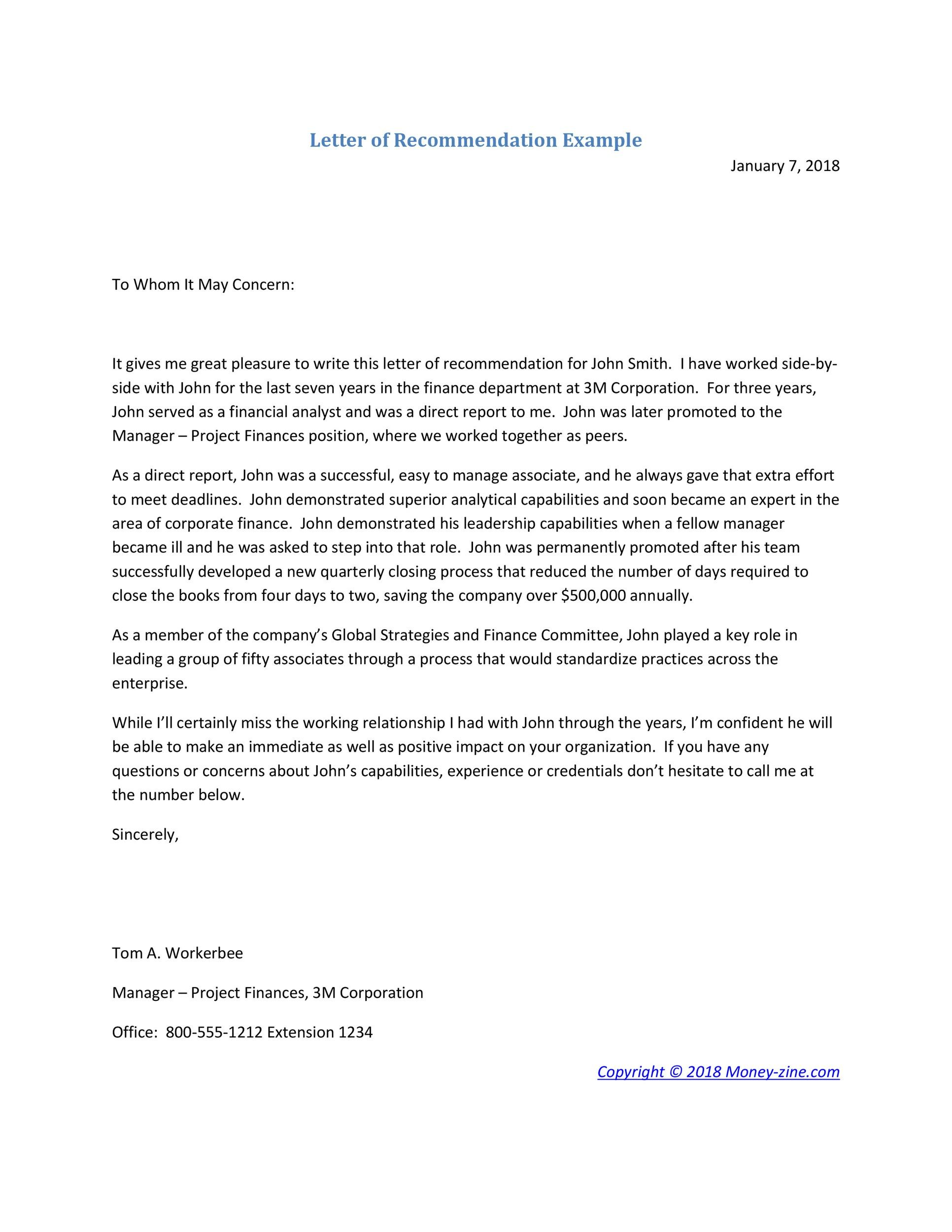 Free Recommendation Letter From Manager Template 21