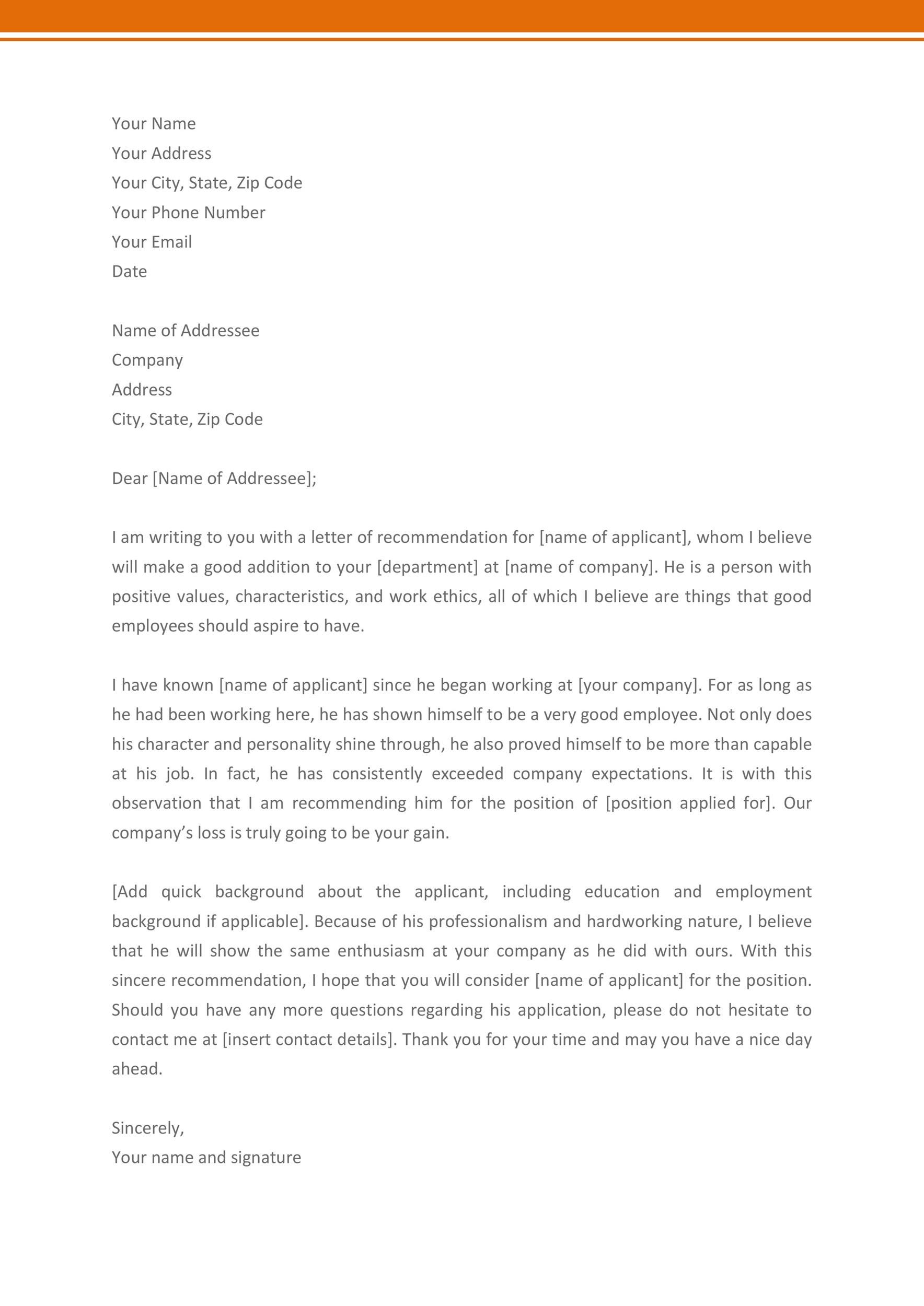 Free Recommendation Letter From Manager Template 22