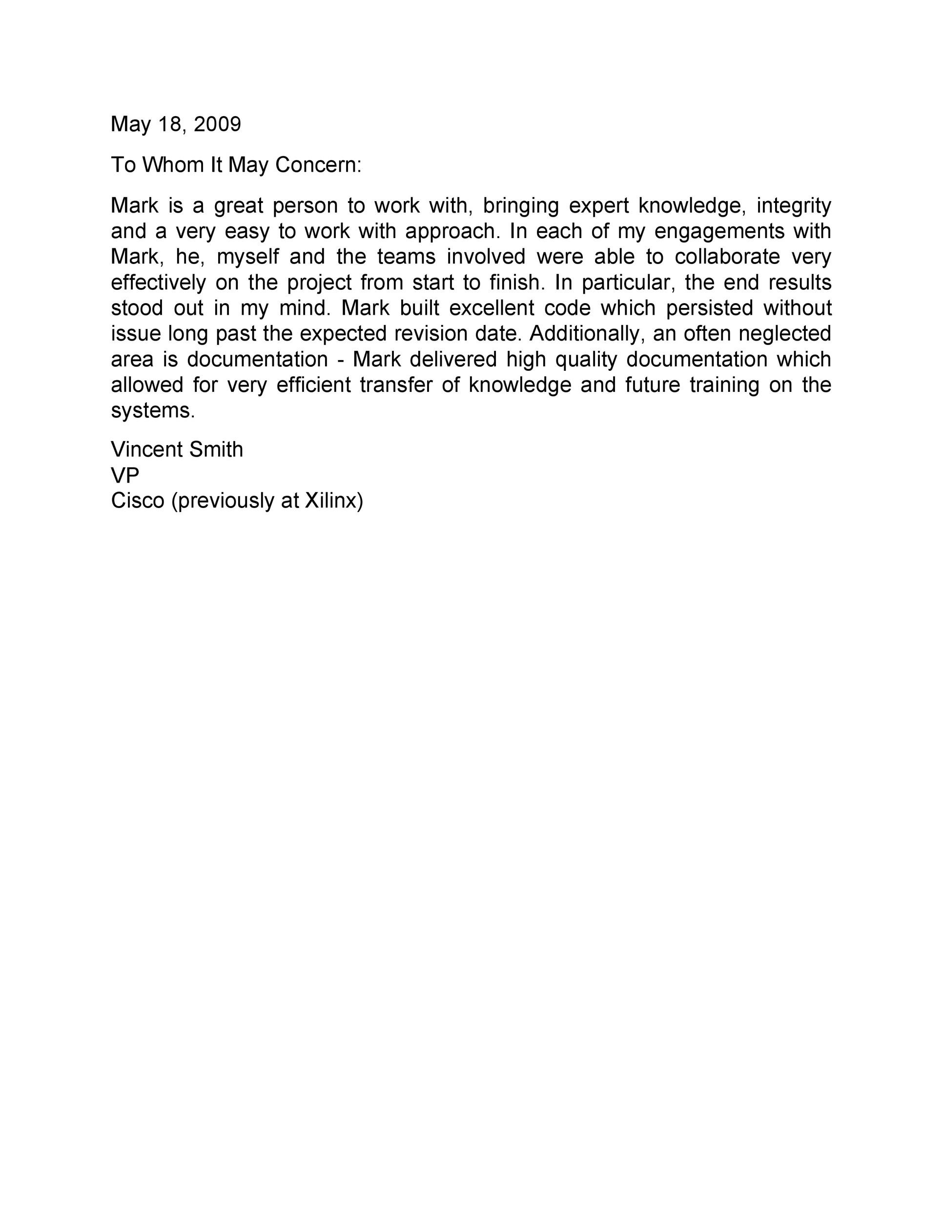 Free Recommendation Letter From Manager Template 24