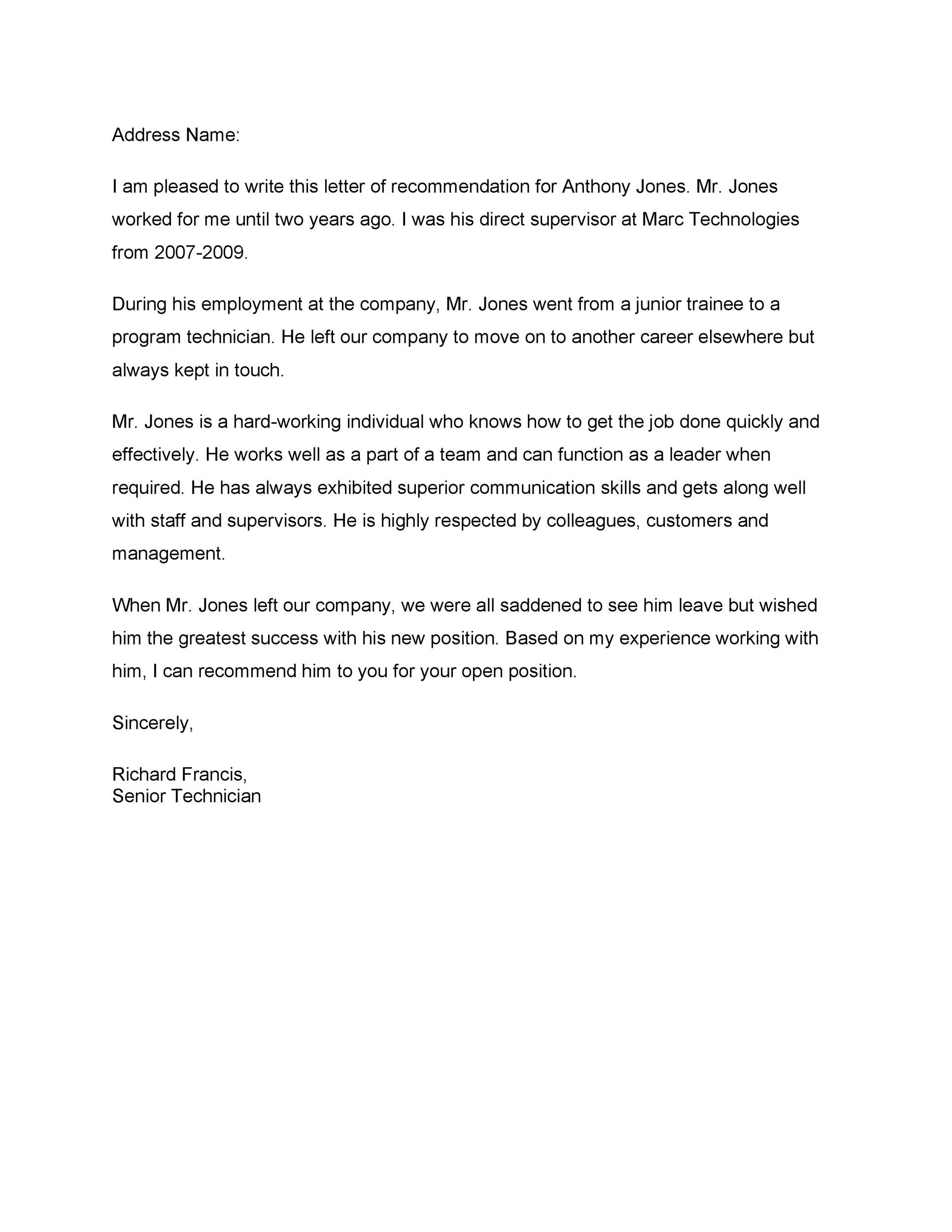 Free Recommendation Letter From Manager Template 26