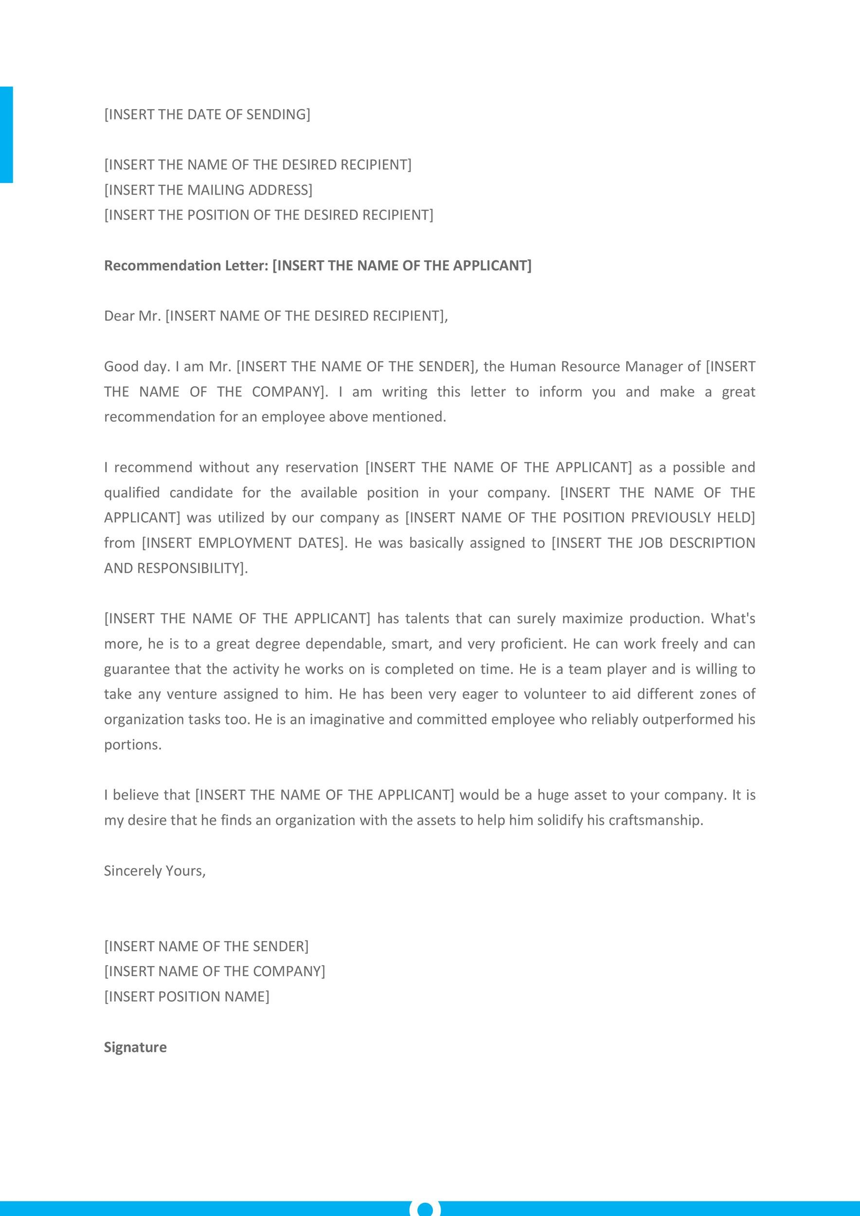 Free Recommendation Letter From Manager Template 27