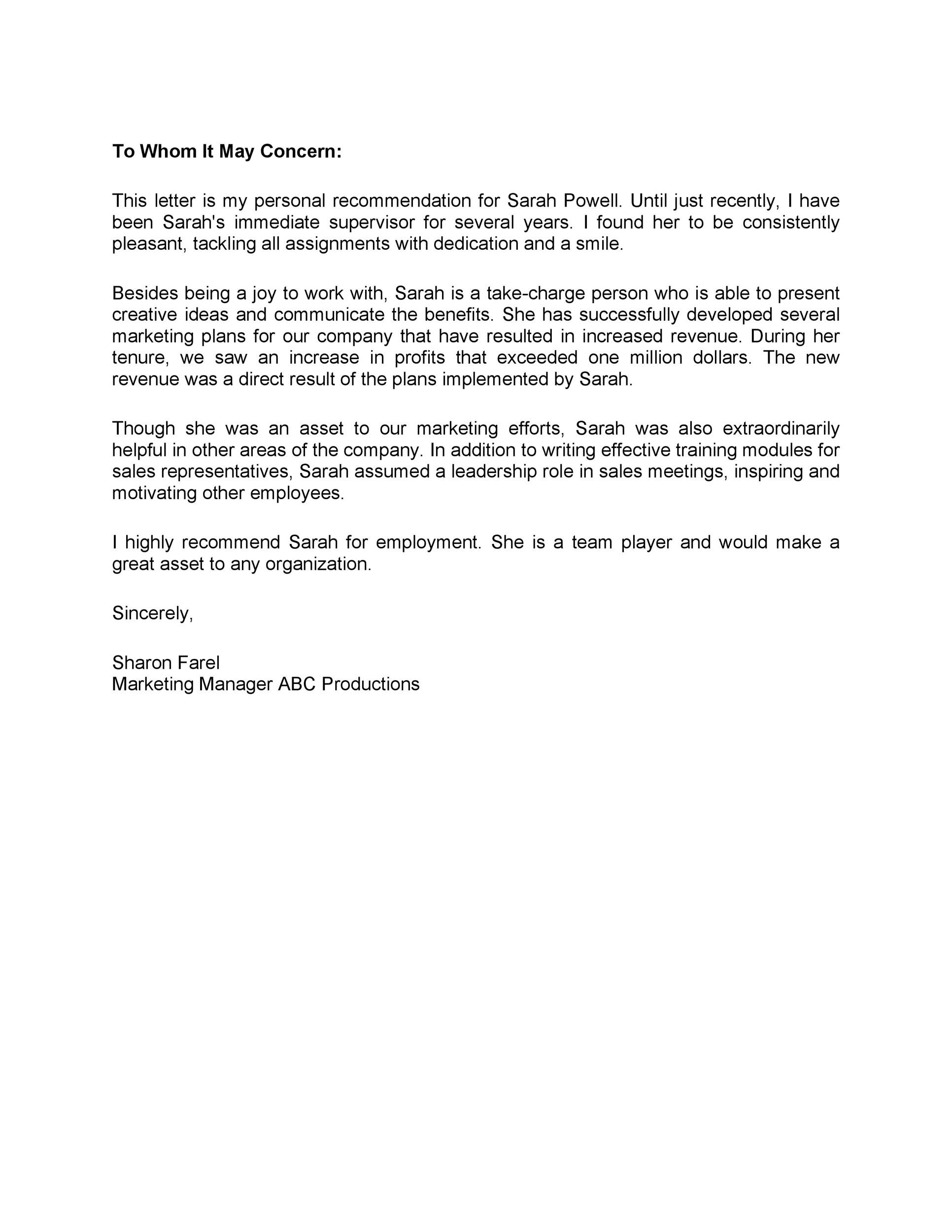 Free Recommendation Letter From Manager Template 28