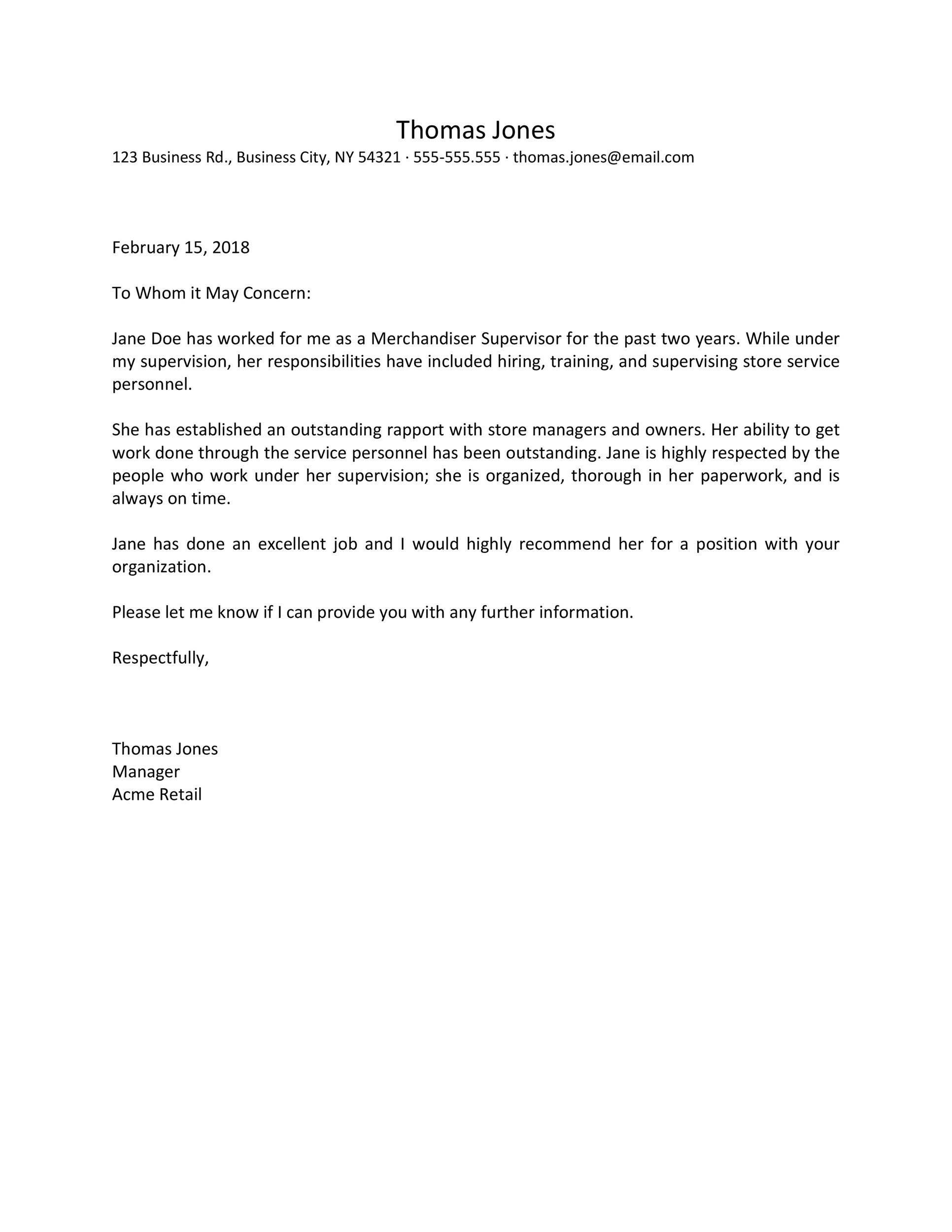 Free Recommendation Letter From Manager Template 30