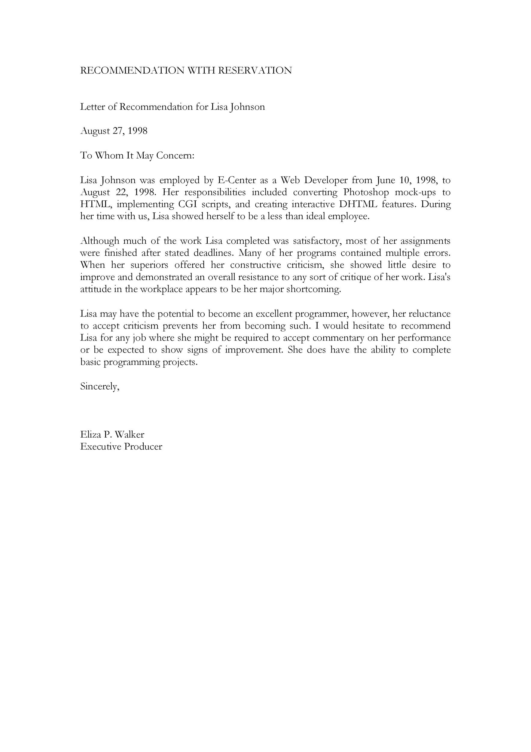 Employee Recommendation Letter From Manager from templatelab.com