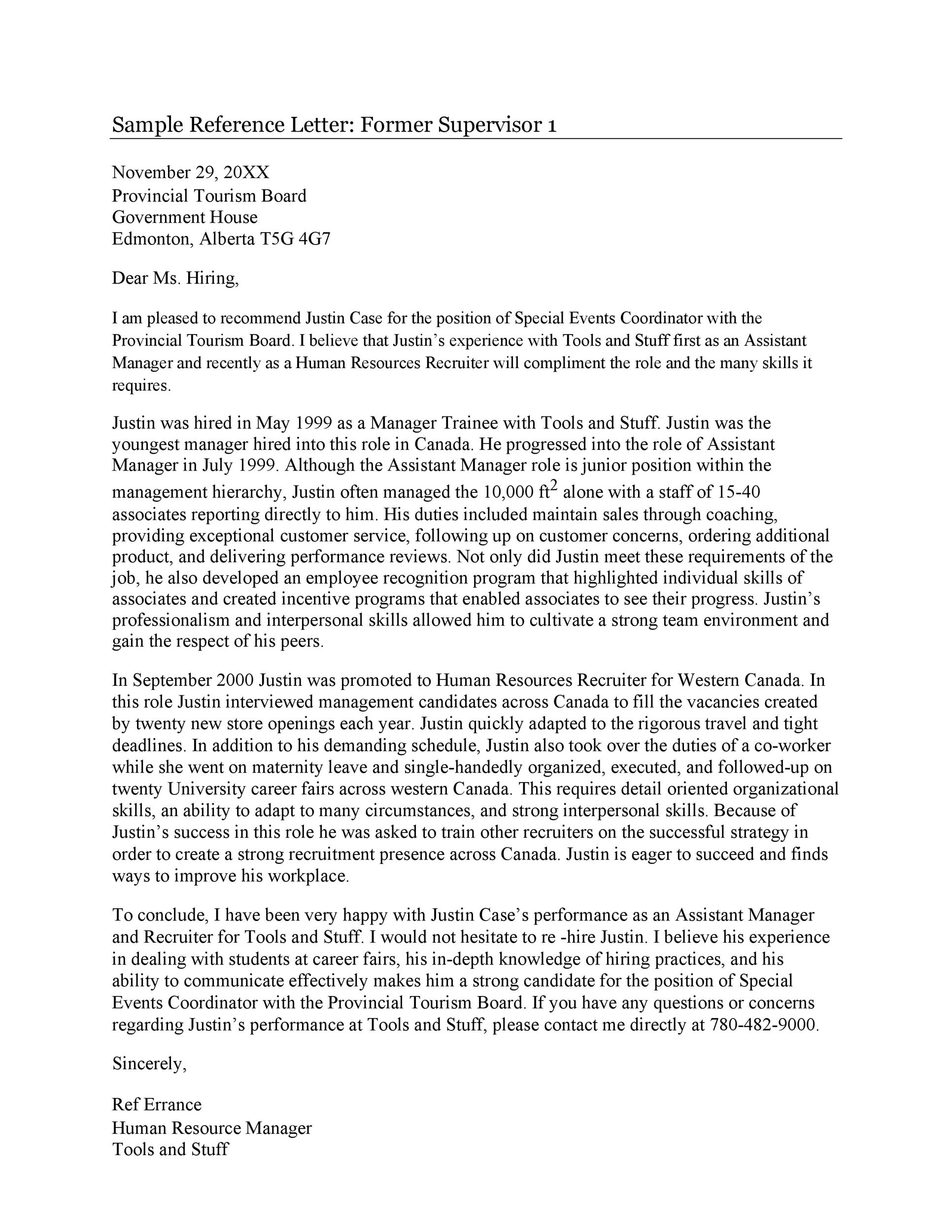Free Recommendation Letter From Manager Template 34