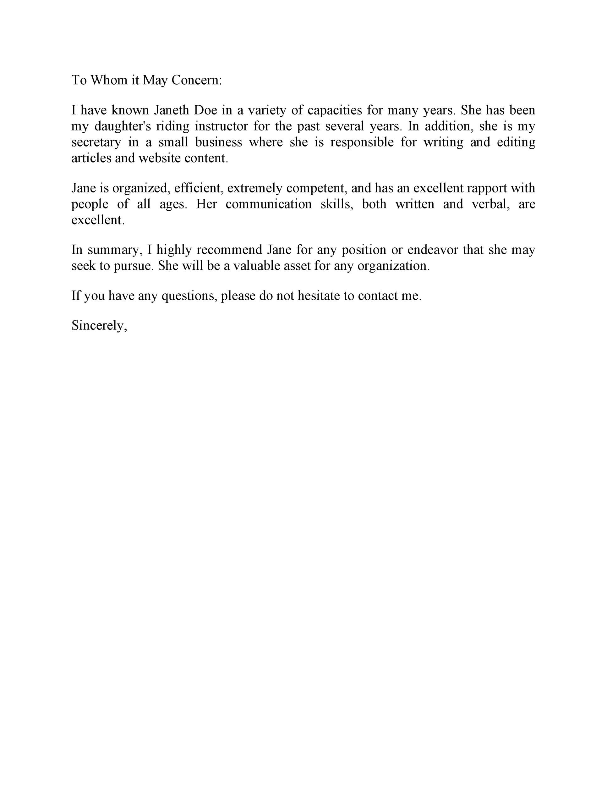 Free Recommendation Letter From Manager Template 35