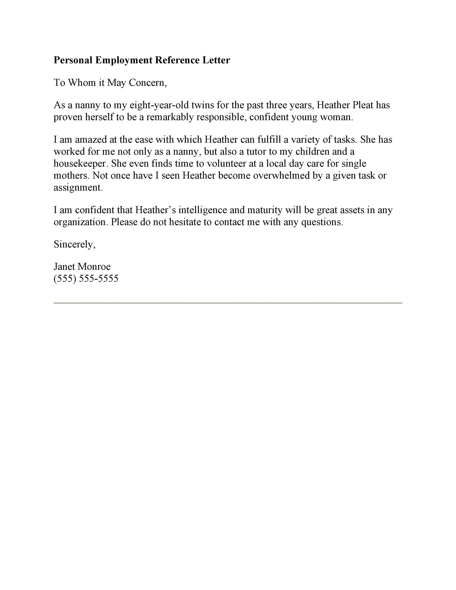 Free Recommendation Letter From Manager Template 36