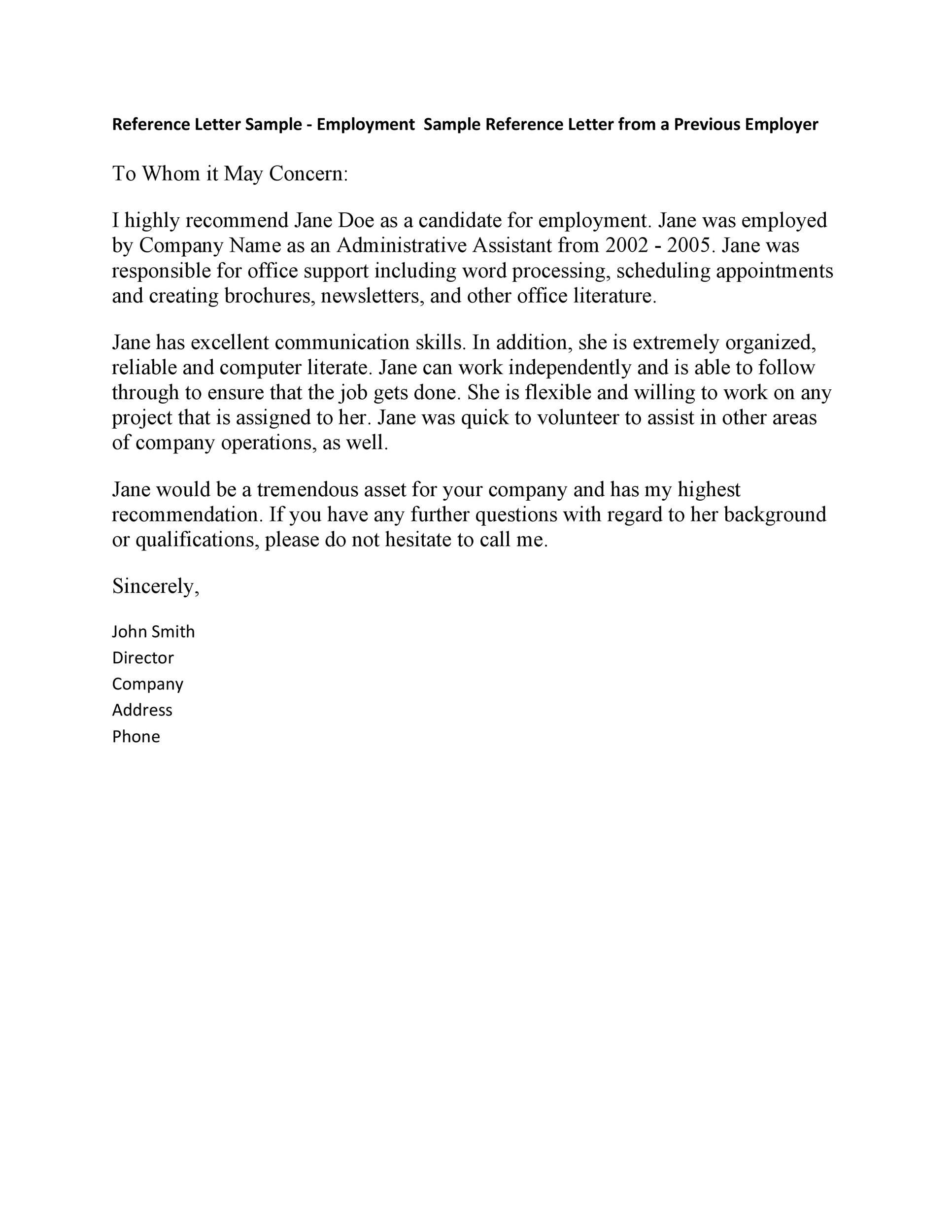 Free Recommendation Letter From Manager Template 37