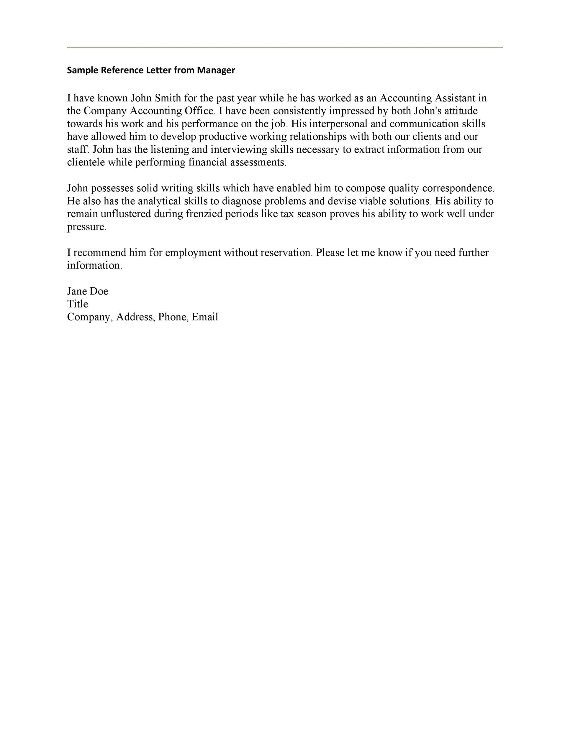 Free Recommendation Letter From Manager Template 38