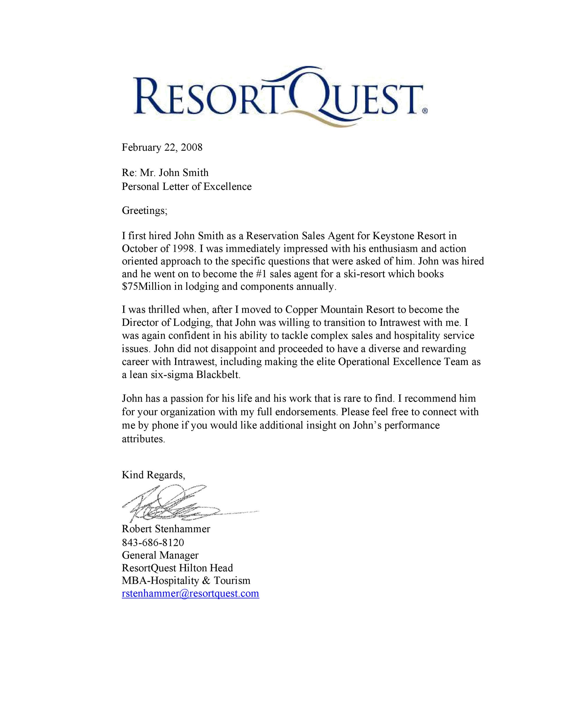 Free Recommendation Letter From Manager Template 40