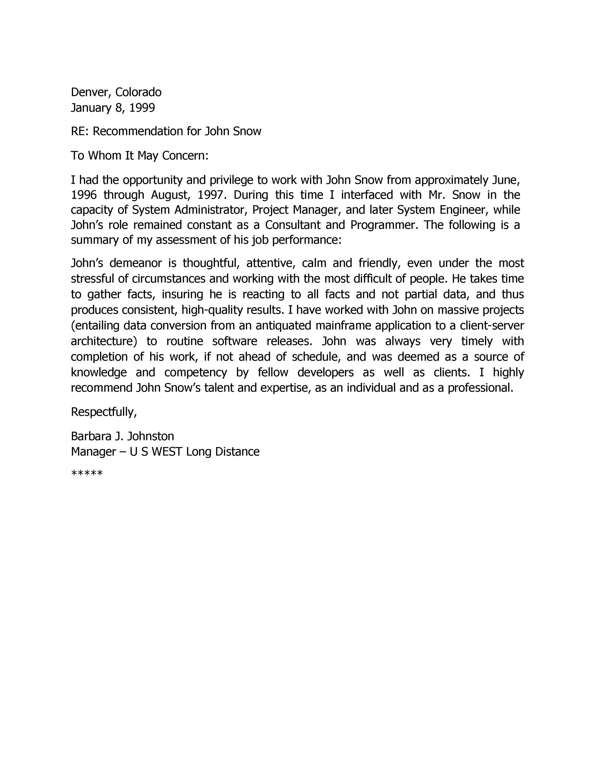 Free Recommendation Letter From Manager Template 41