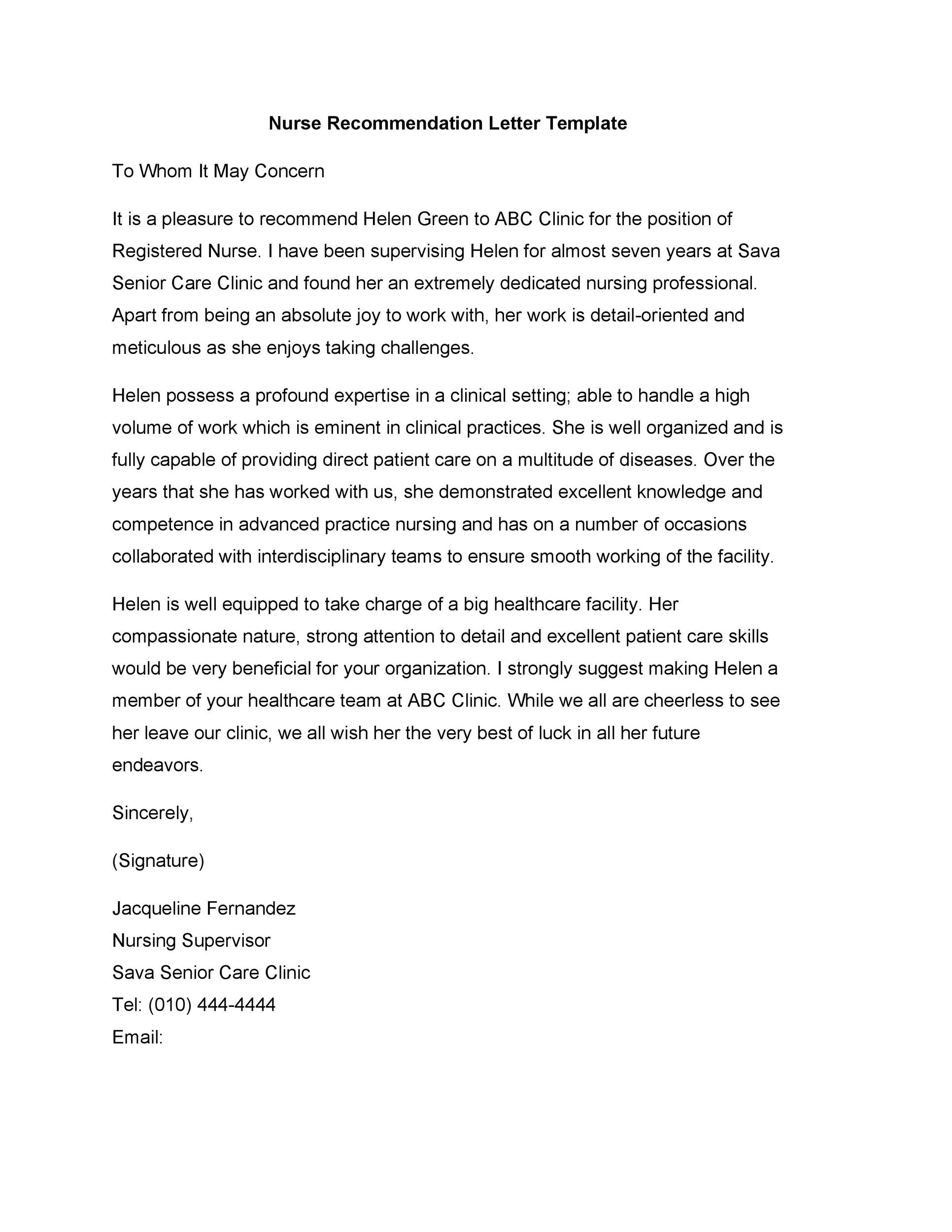 Free Recommendation Letter From Manager Template 42