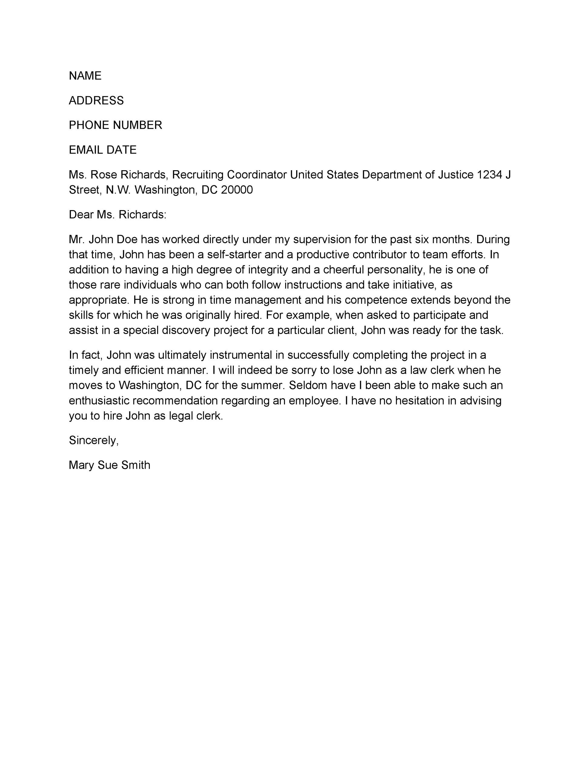 Free Recommendation Letter From Manager Template 43